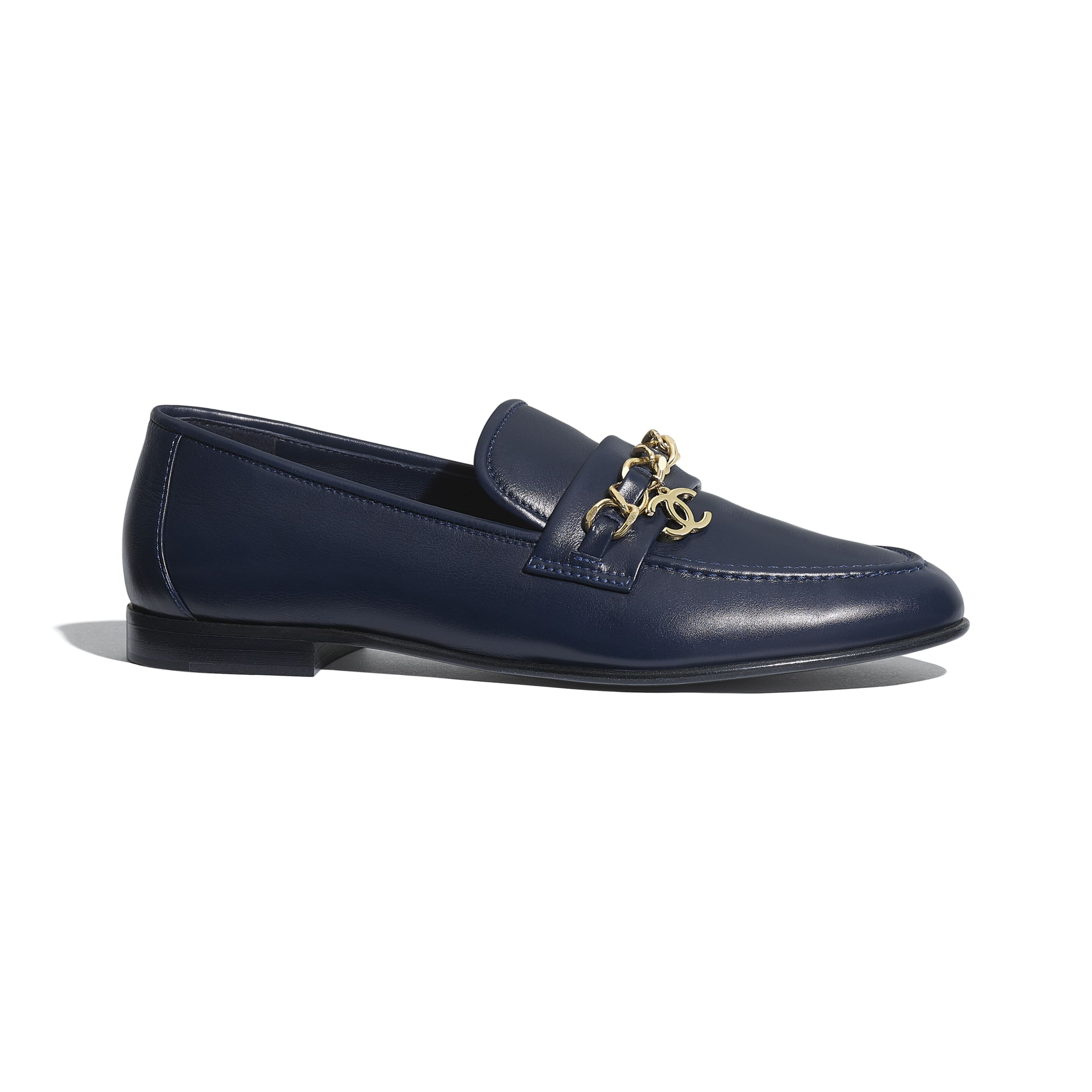 Loafers - Navy Blue - Lambskin - CHANEL - Default view - see standard sized version