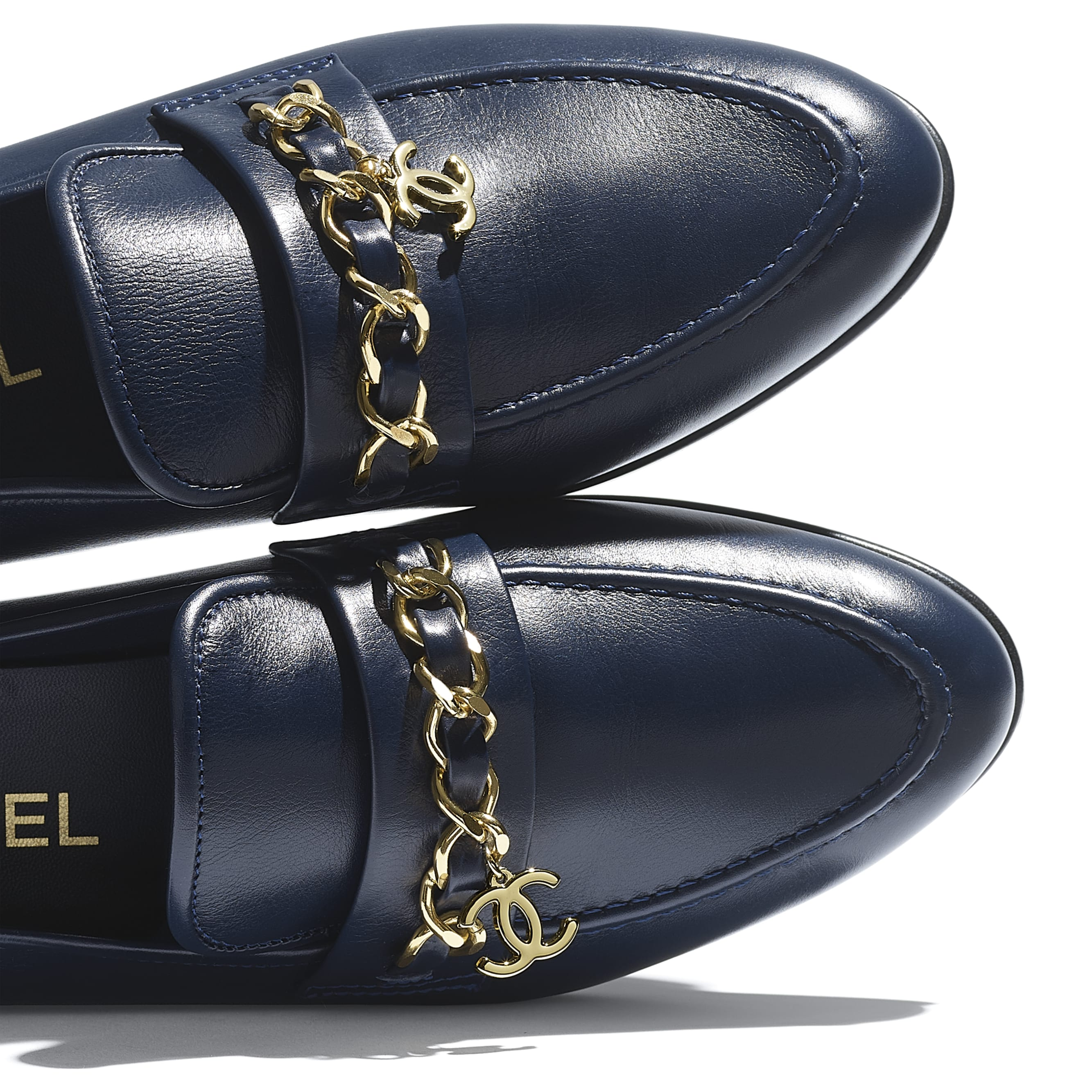 Loafers - Navy Blue - Lambskin - CHANEL - Extra view - see standard sized version