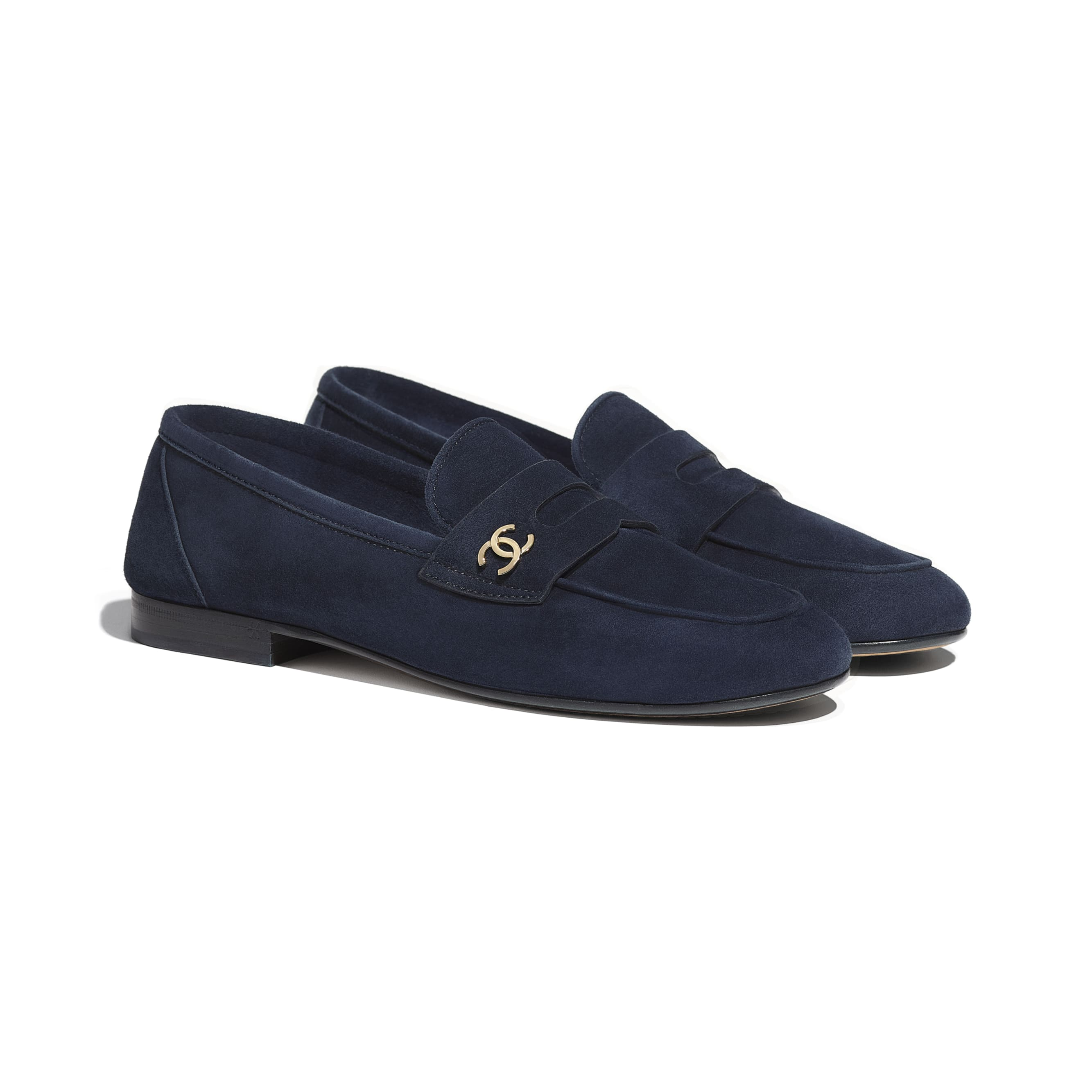 Loafers - Navy Blue - Suede Calfskin - CHANEL - Alternative view - see standard sized version