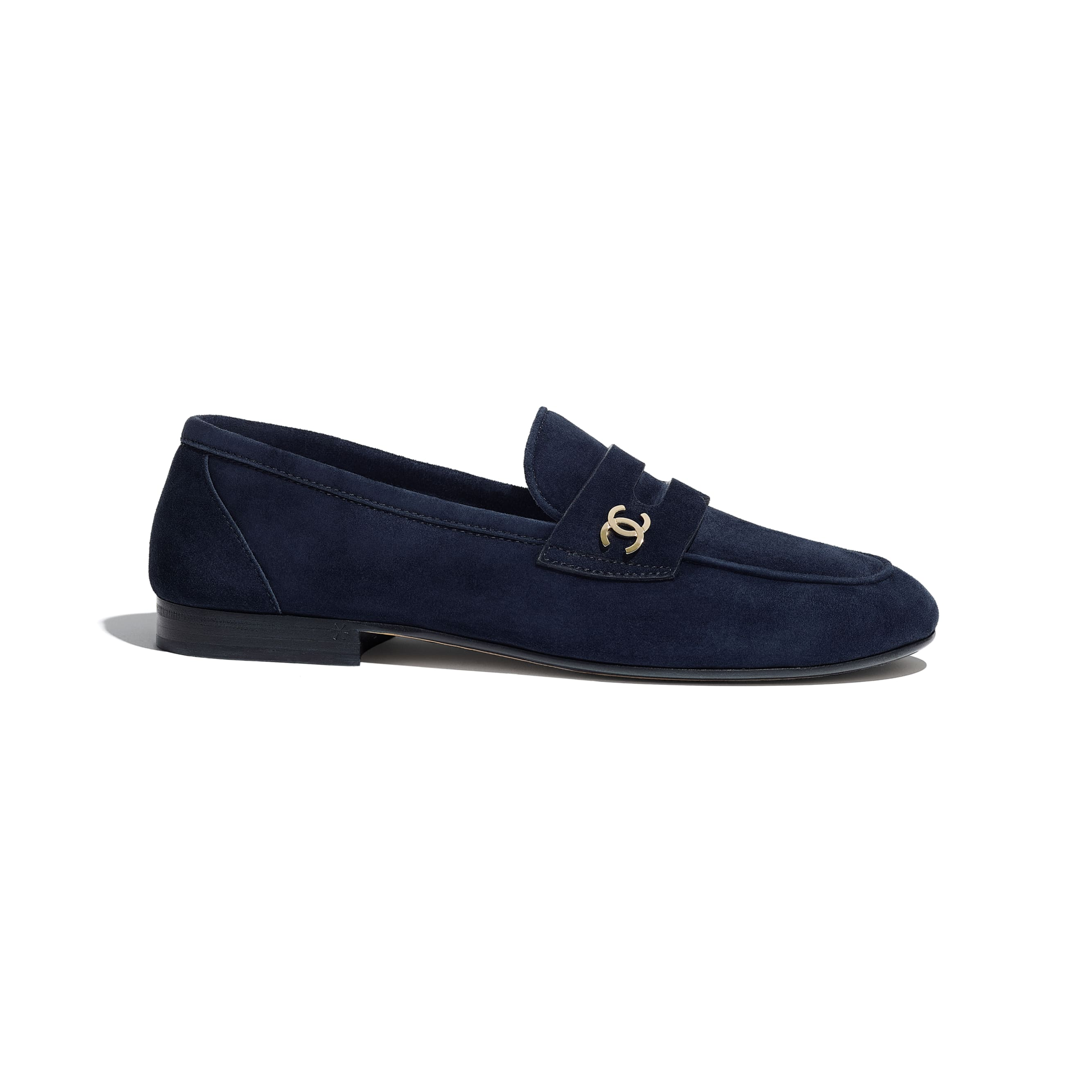 Loafers - Navy Blue - Suede Calfskin - CHANEL - Default view - see standard sized version