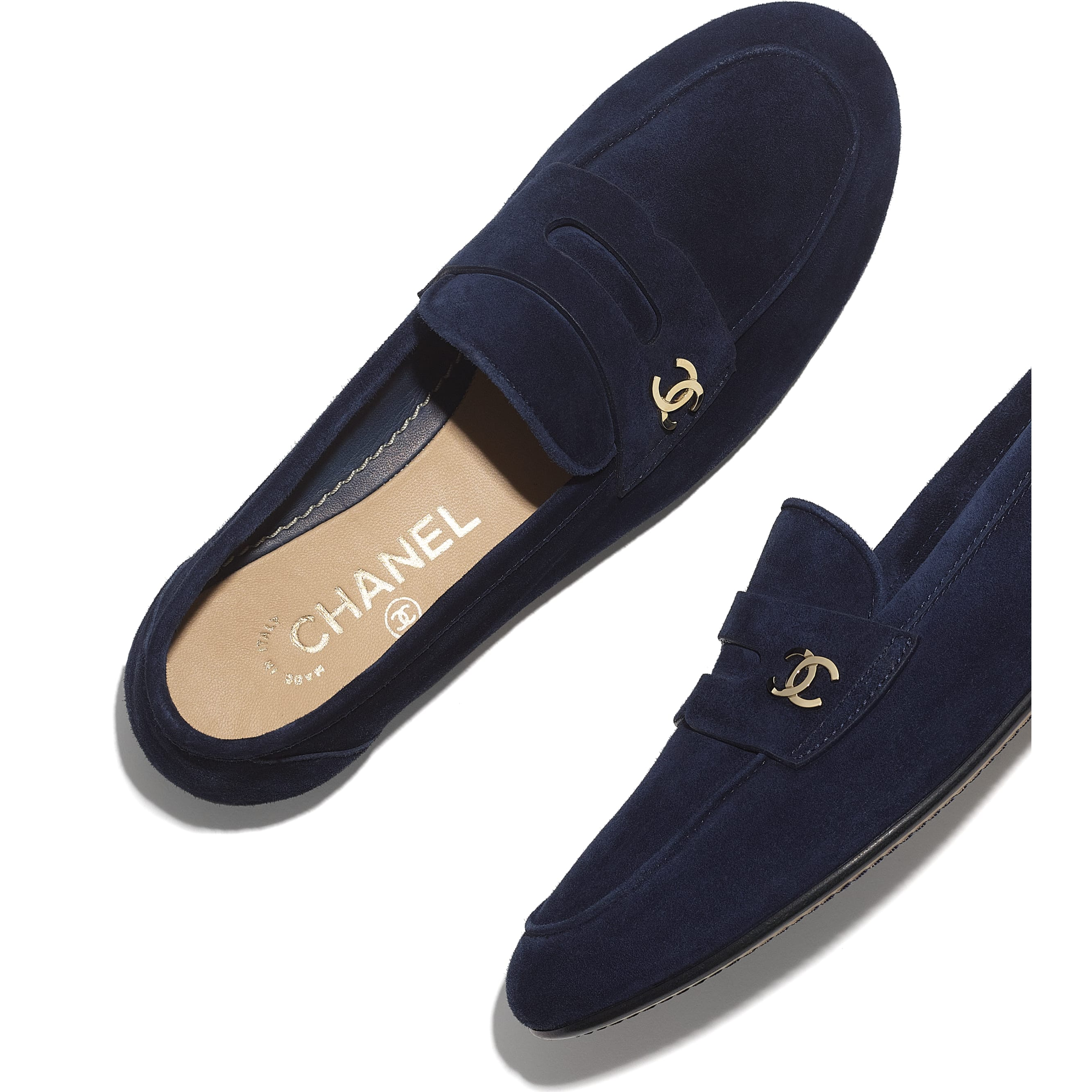 Loafers - Navy Blue - Suede Calfskin - CHANEL - Extra view - see standard sized version