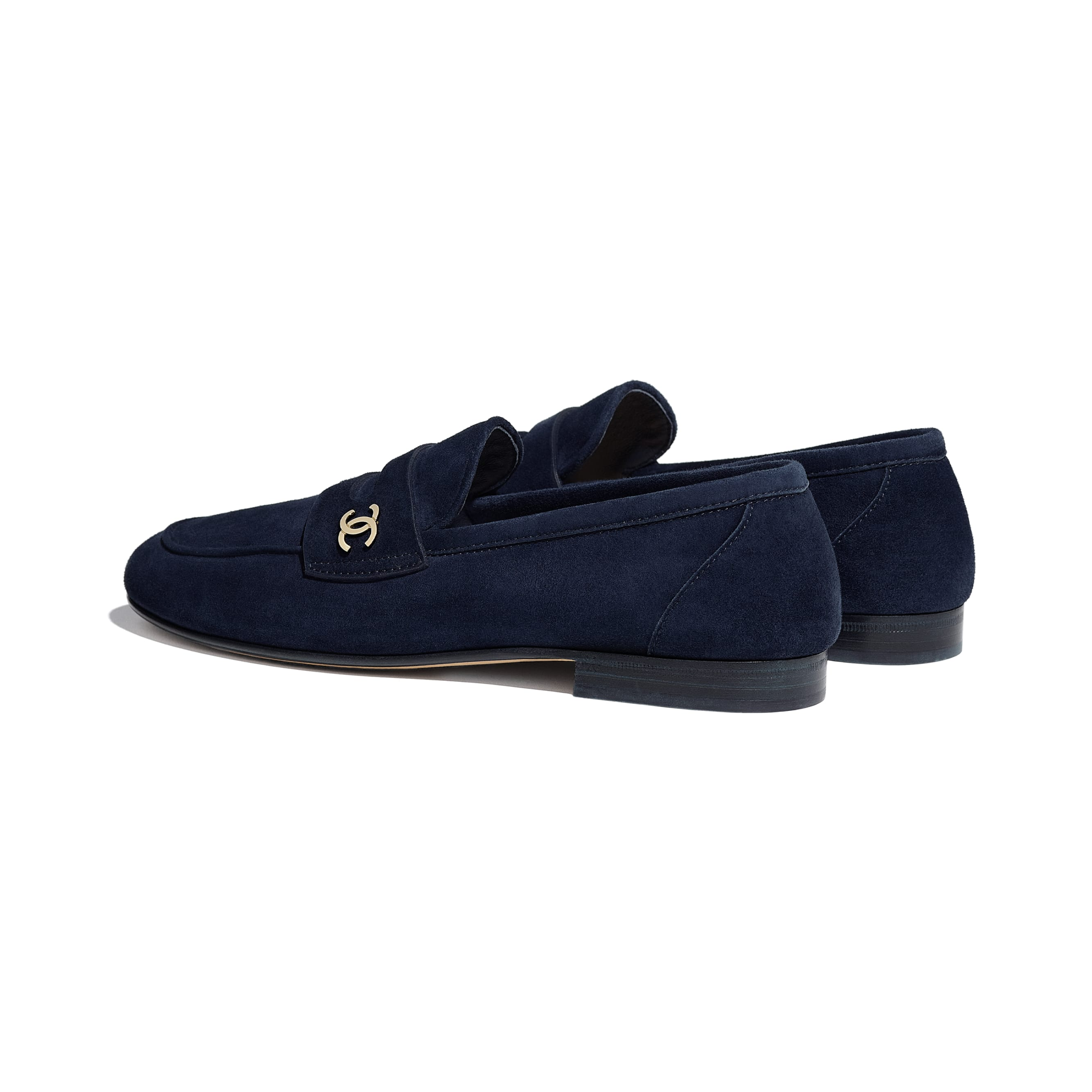 Loafers - Navy Blue - Suede Calfskin - CHANEL - Other view - see standard sized version