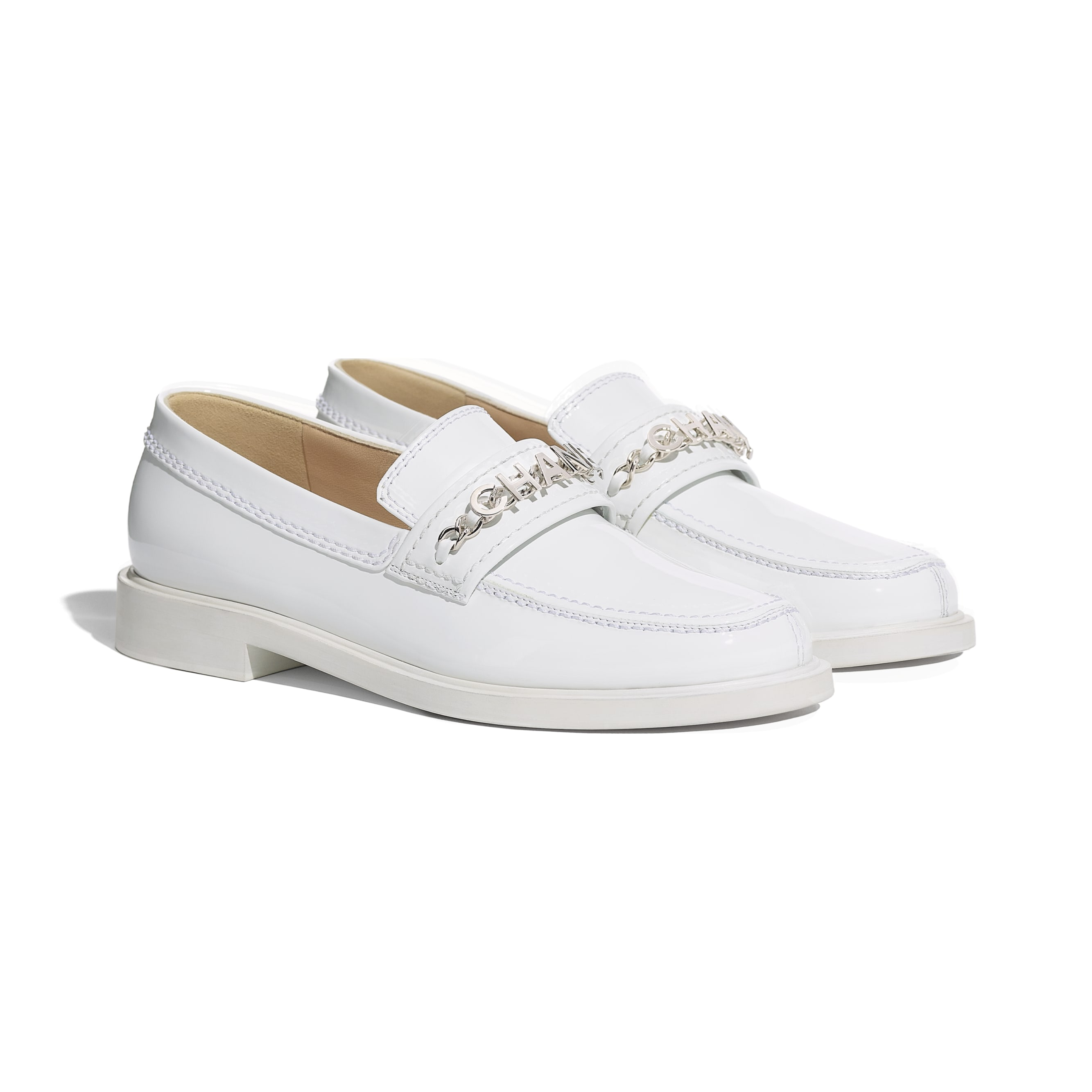 Loafers - White - Patent Calfskin - CHANEL - Alternative view - see standard sized version