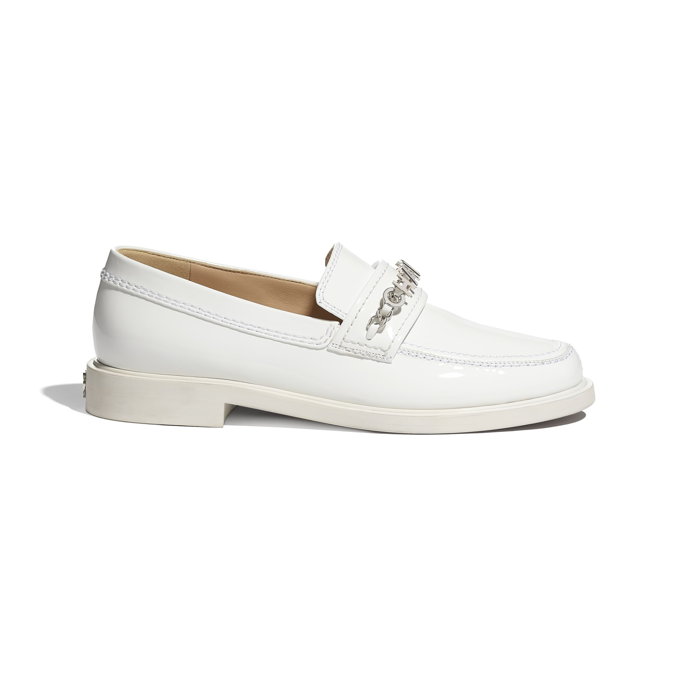 Loafers - White - Patent Calfskin - CHANEL - Default view - see standard sized version