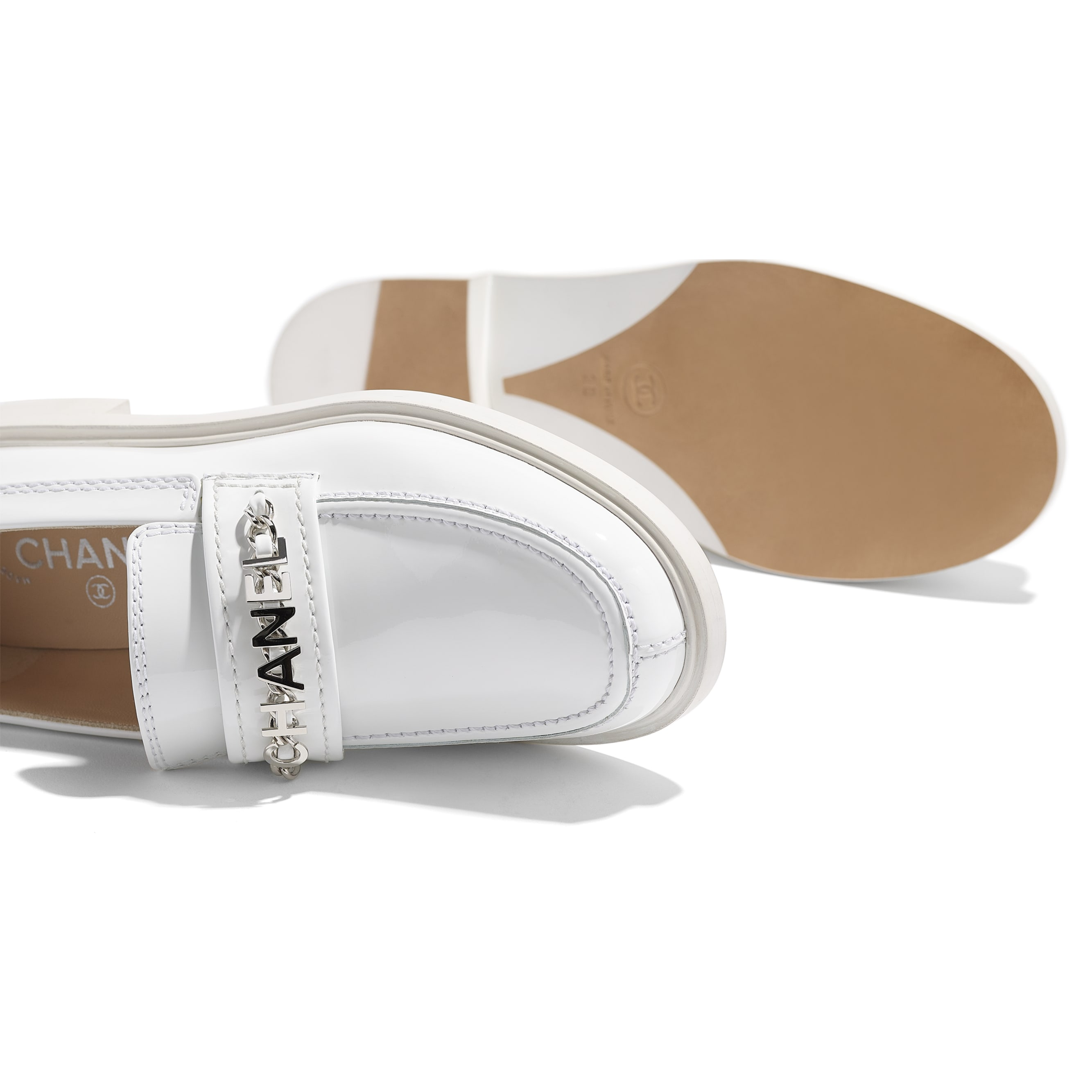 Loafers - White - Patent Calfskin - CHANEL - Extra view - see standard sized version