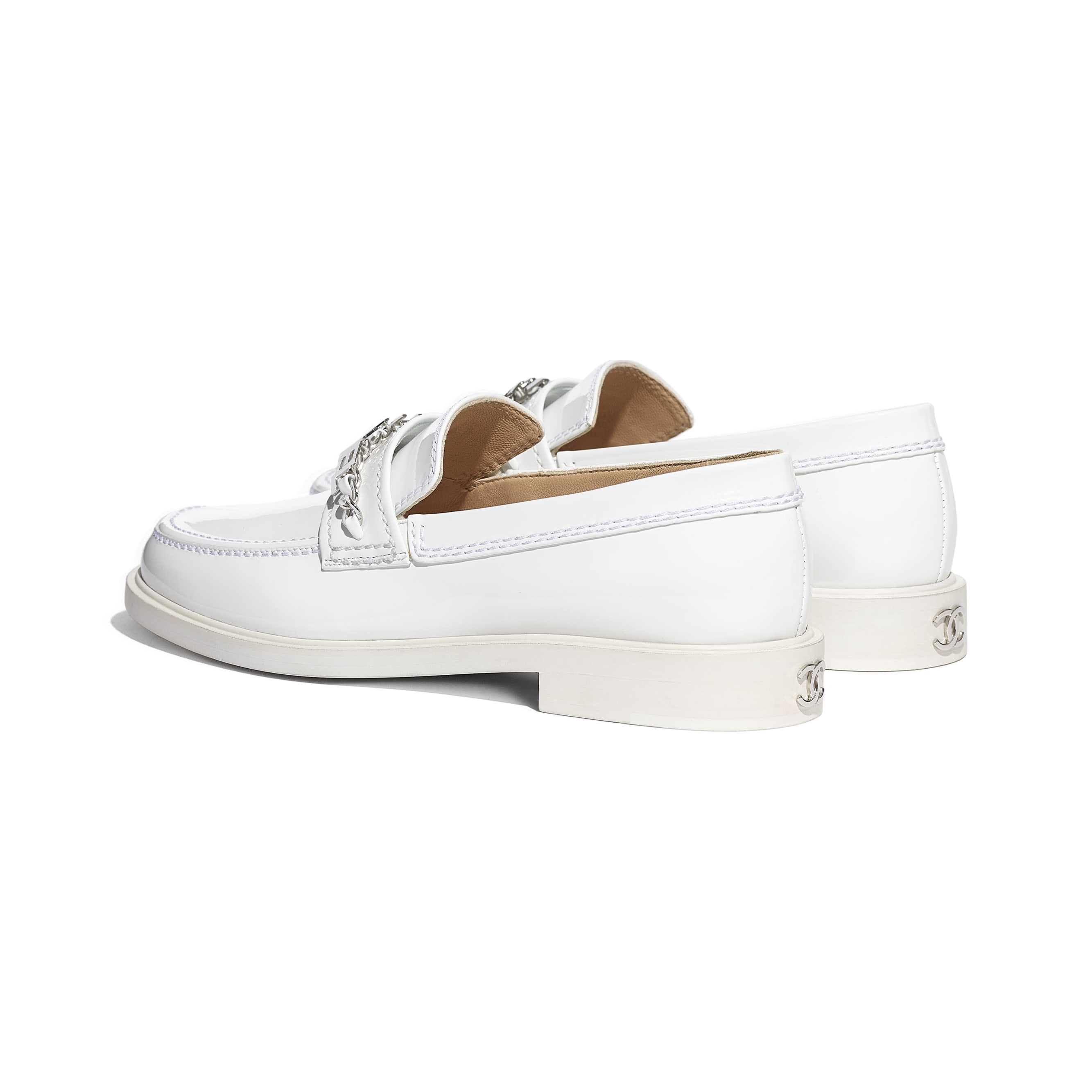 Loafers - White - Patent Calfskin - CHANEL - Other view - see standard sized version