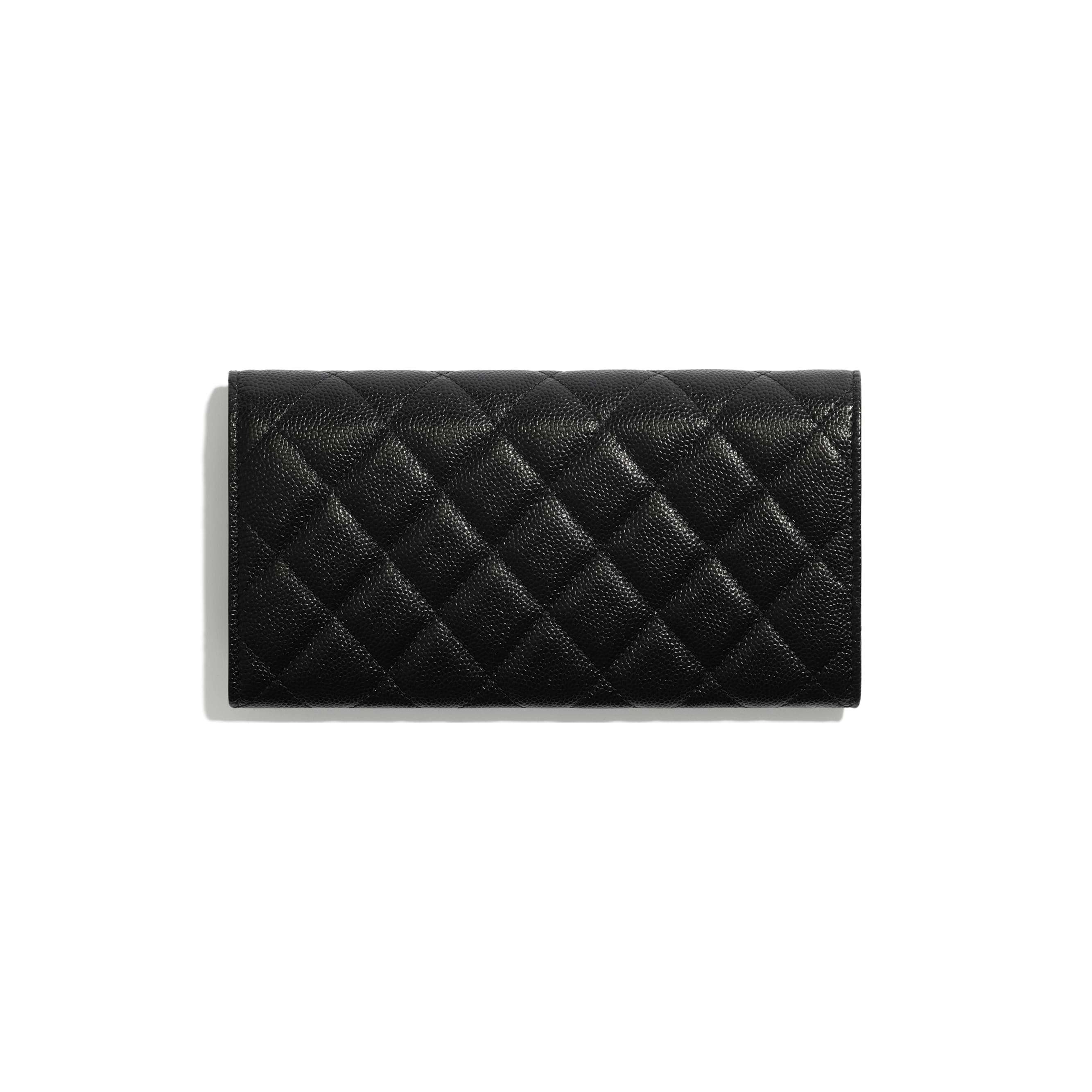 Long Flap Wallet - Black - Shiny Grained Calfskin, Gold-Tone & Lacquered Metal  - CHANEL - Alternative view - see standard sized version