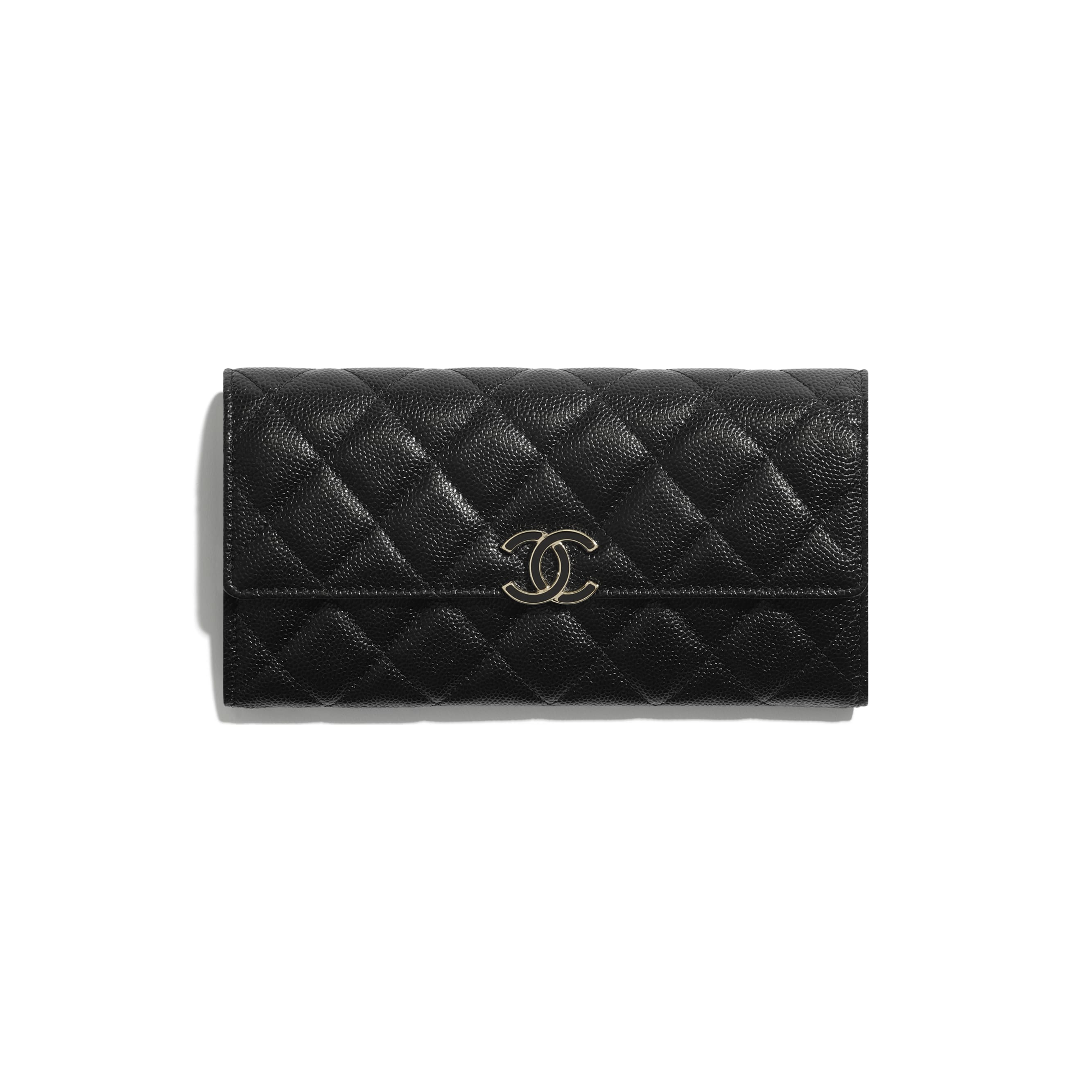 Long Flap Wallet - Black - Shiny Grained Calfskin, Gold-Tone & Lacquered Metal  - CHANEL - Default view - see standard sized version
