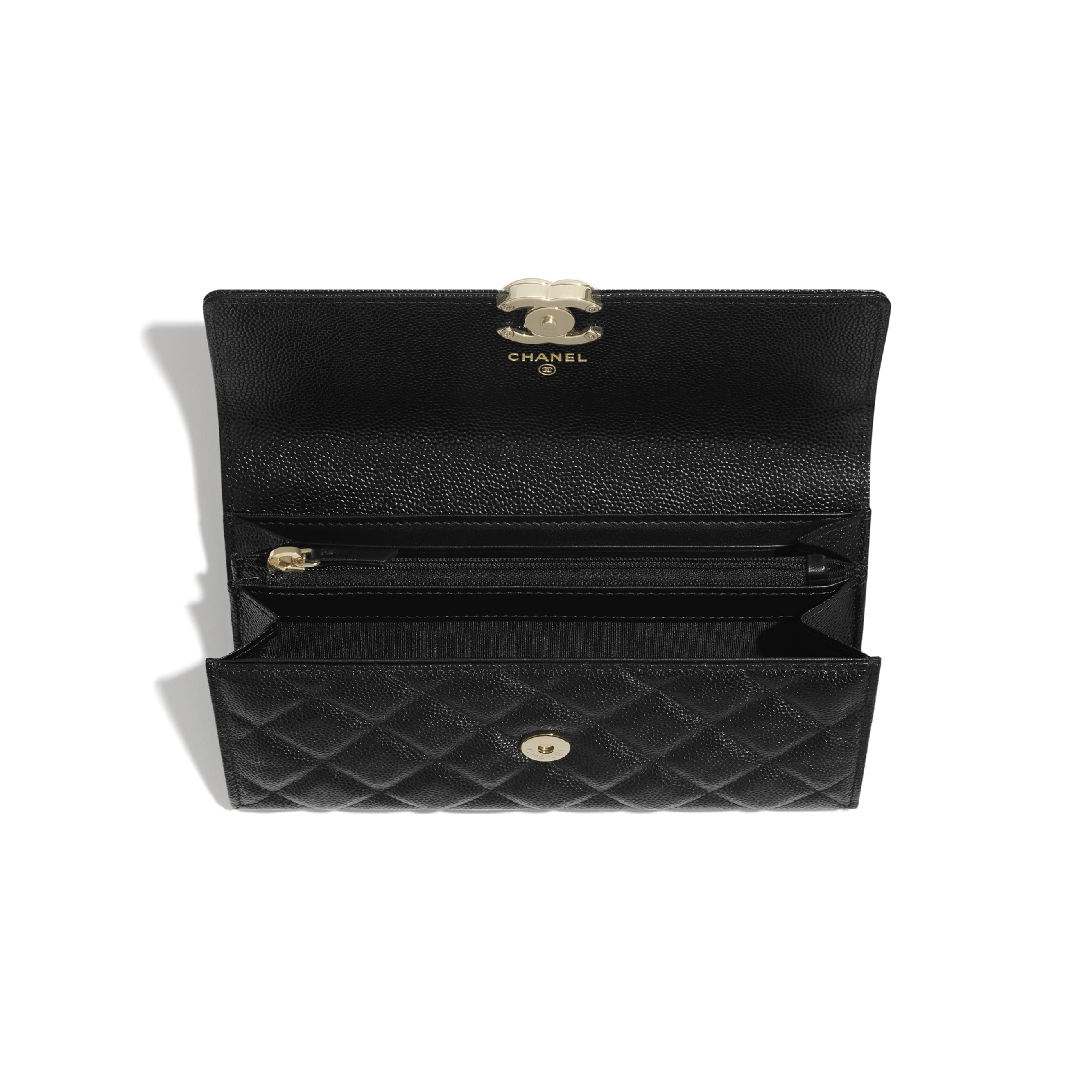 Long Flap Wallet - Black - Shiny Grained Calfskin, Gold-Tone & Lacquered Metal  - CHANEL - Other view - see standard sized version