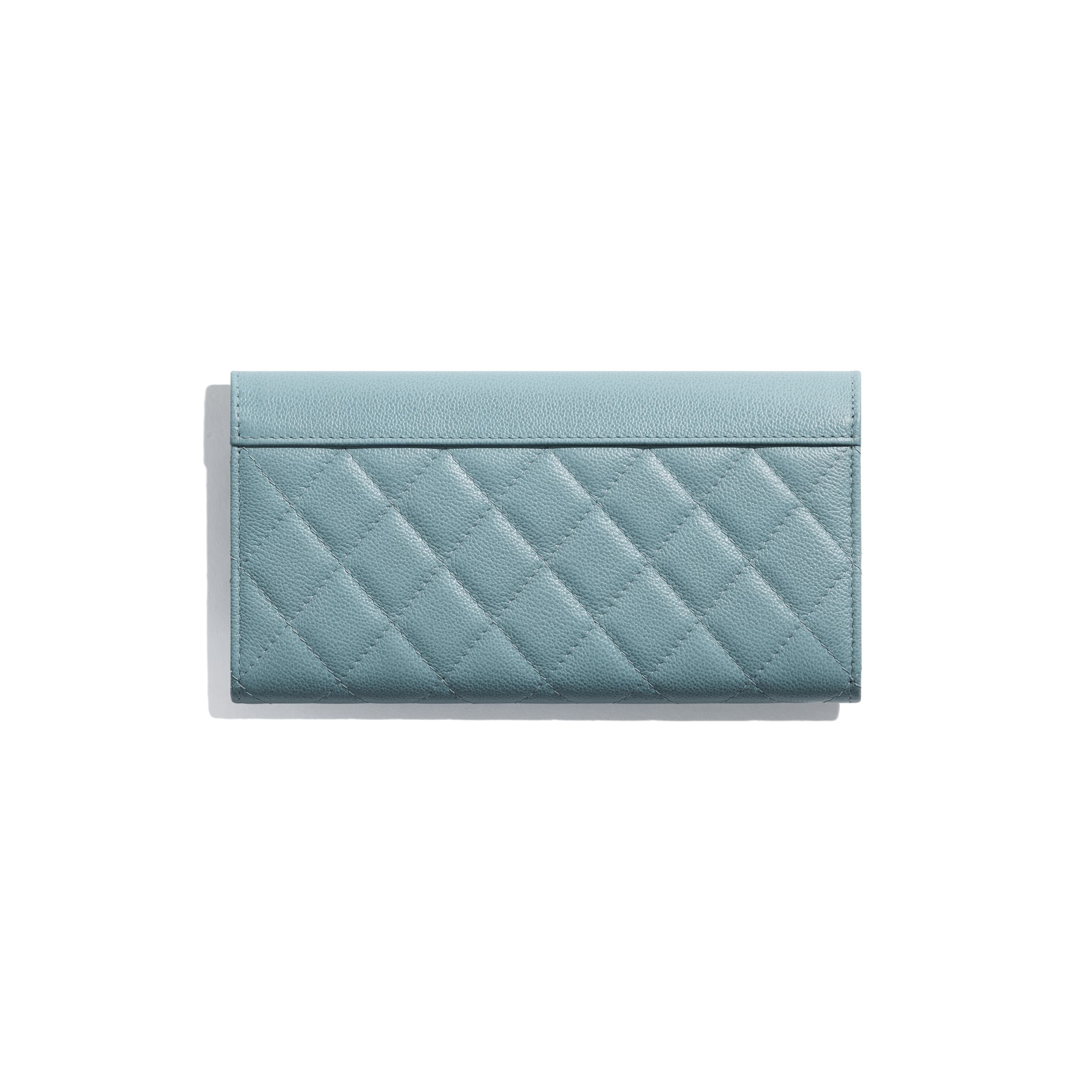 Long Flap Wallet - Blue - Grained Calfskin & Silver Metal - Alternative view - see standard sized version