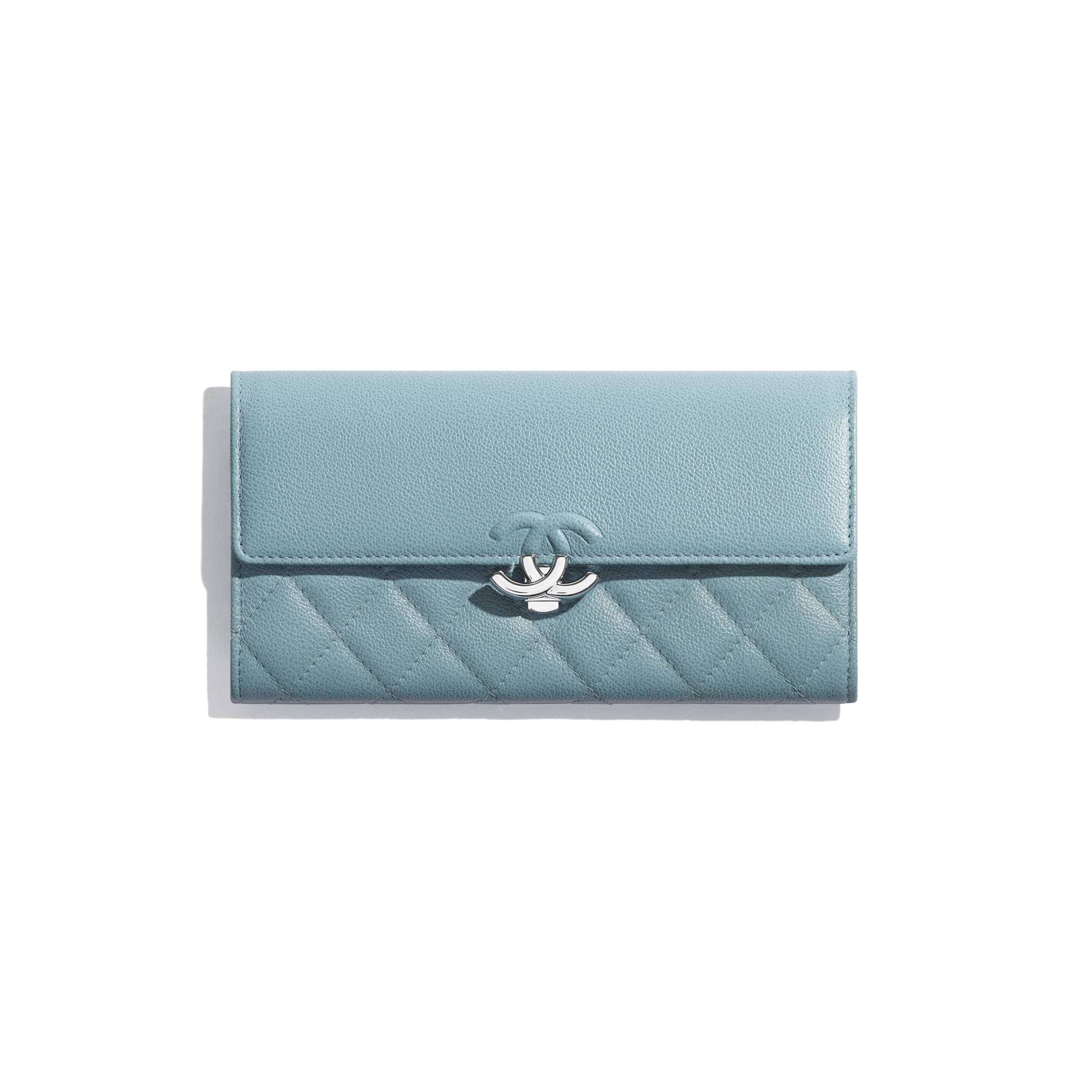 Long Flap Wallet - Blue - Grained Calfskin & Silver Metal - Default view - see standard sized version