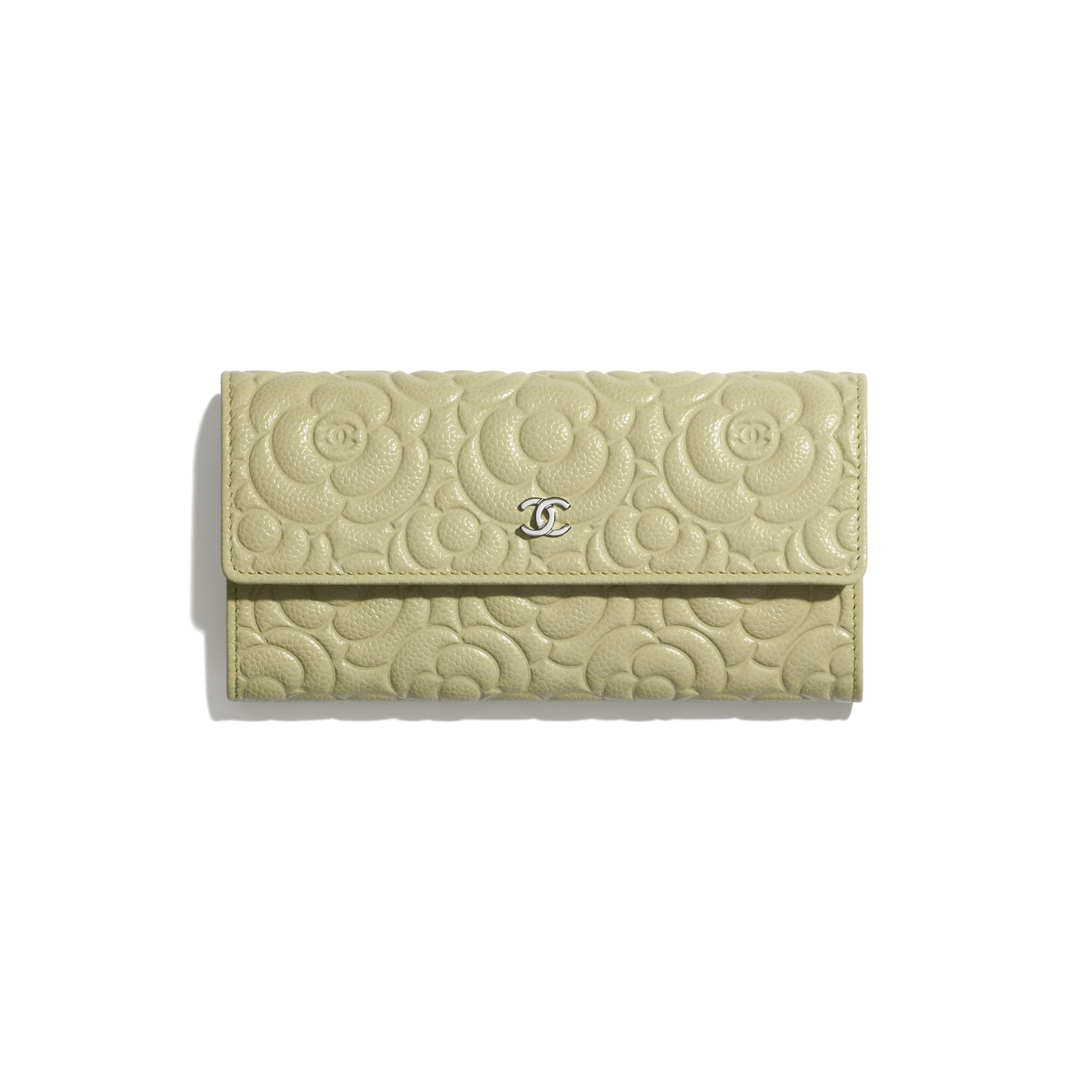 Long Flap Wallet - Green - Grained Calfskin & Silver Metal - CHANEL - Default view - see standard sized version