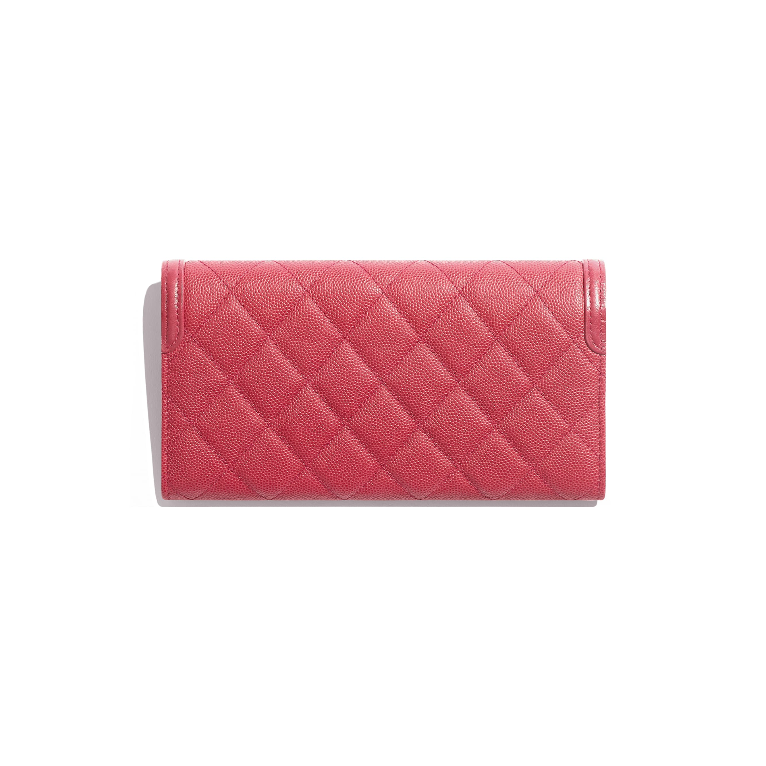 Long Flap Wallet - Pink - Grained Calfskin & Gold-Tone Metal - Alternative view - see standard sized version