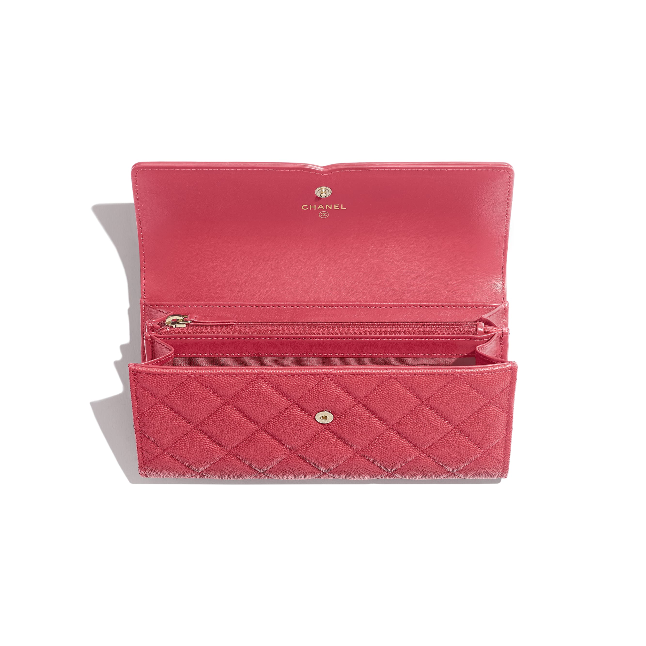 Long Flap Wallet - Pink - Grained Calfskin & Gold-Tone Metal - Other view - see standard sized version