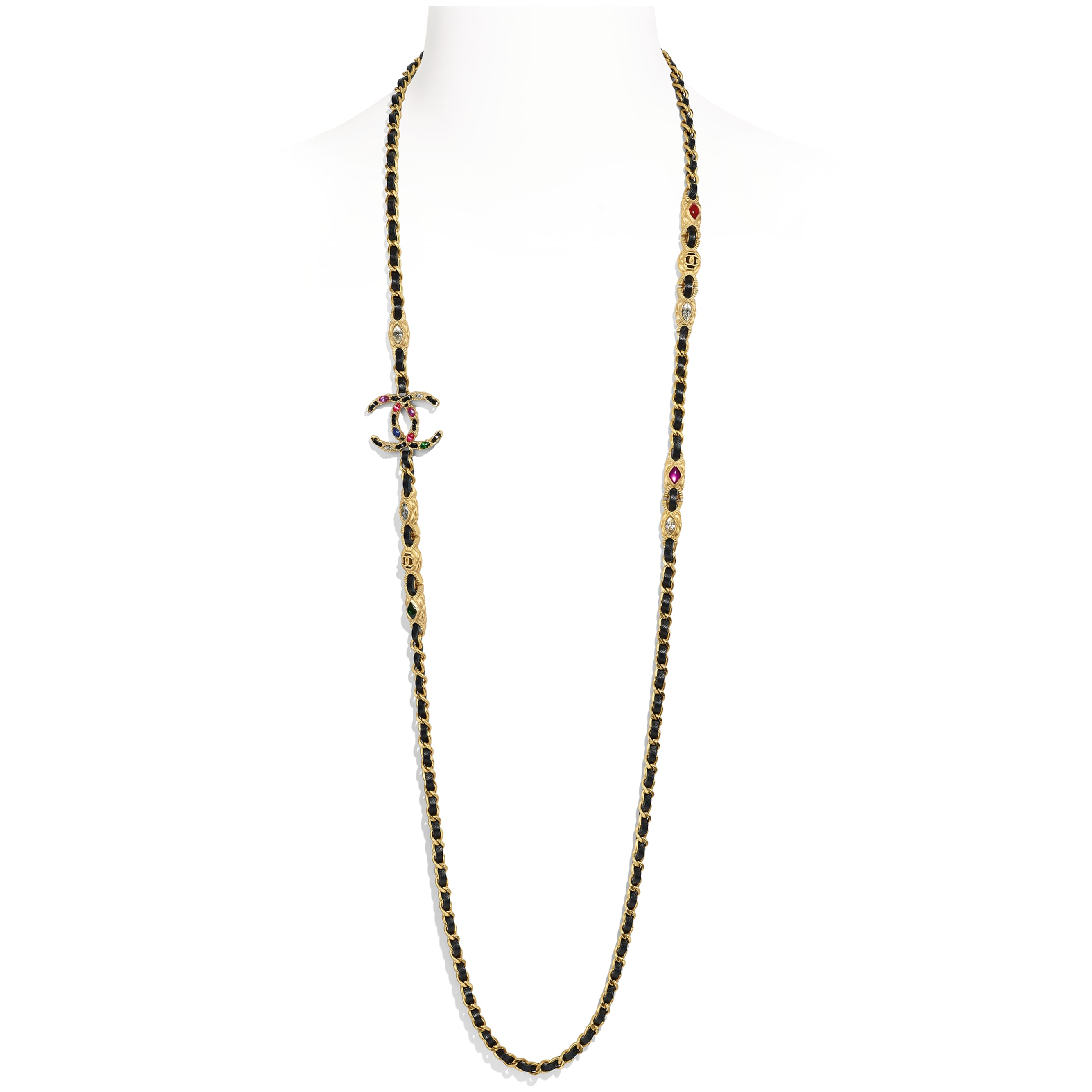Long Necklace - Gold, Black, Crystal & Multicolor - Metal, lambskin, calfskin,diamanté  & resin - Default view - see standard sized version