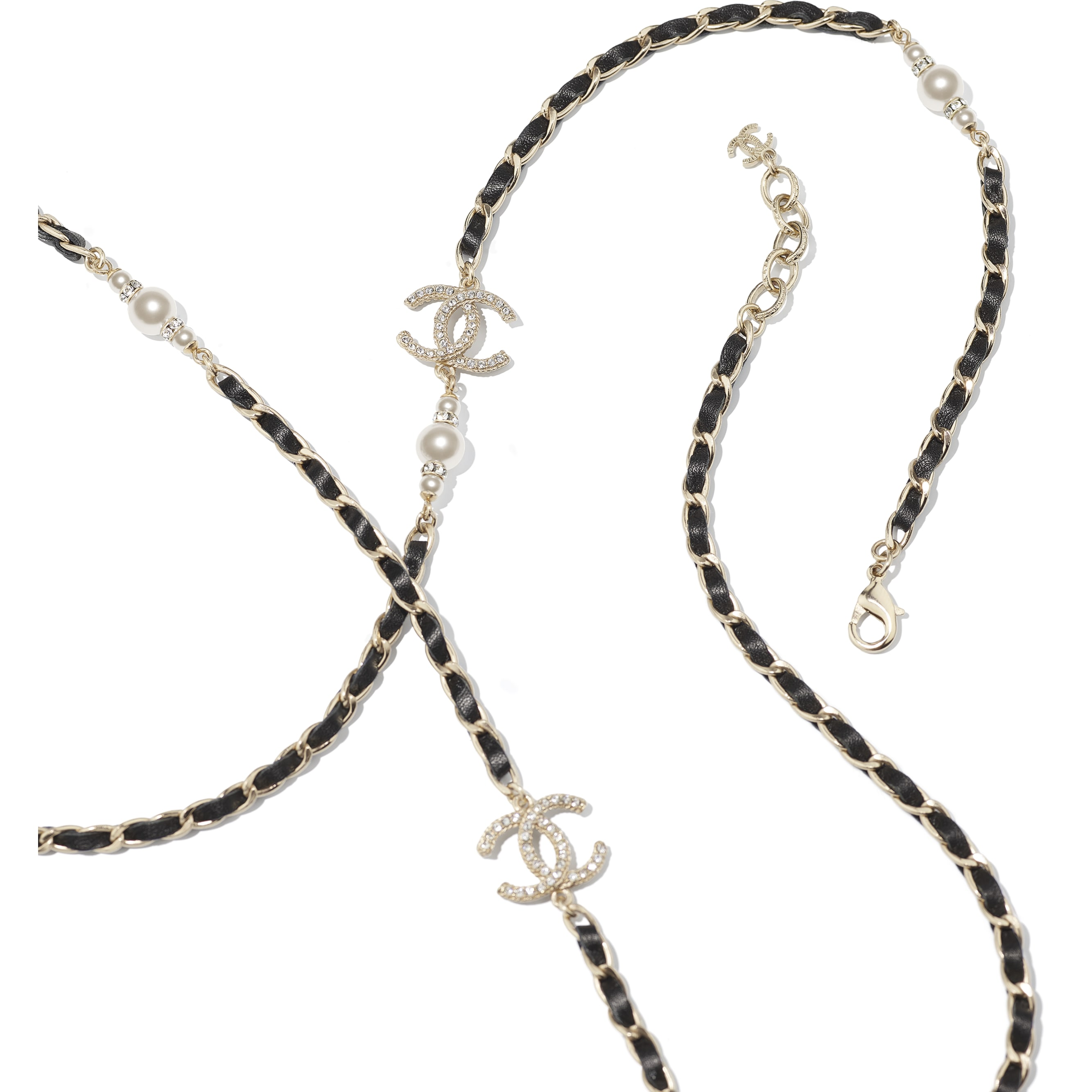 Long Necklace - Gold, Black, Pearly White & Crystal - Metal, Calfskin, Glass Pearls & Strass - CHANEL - Alternative view - see standard sized version