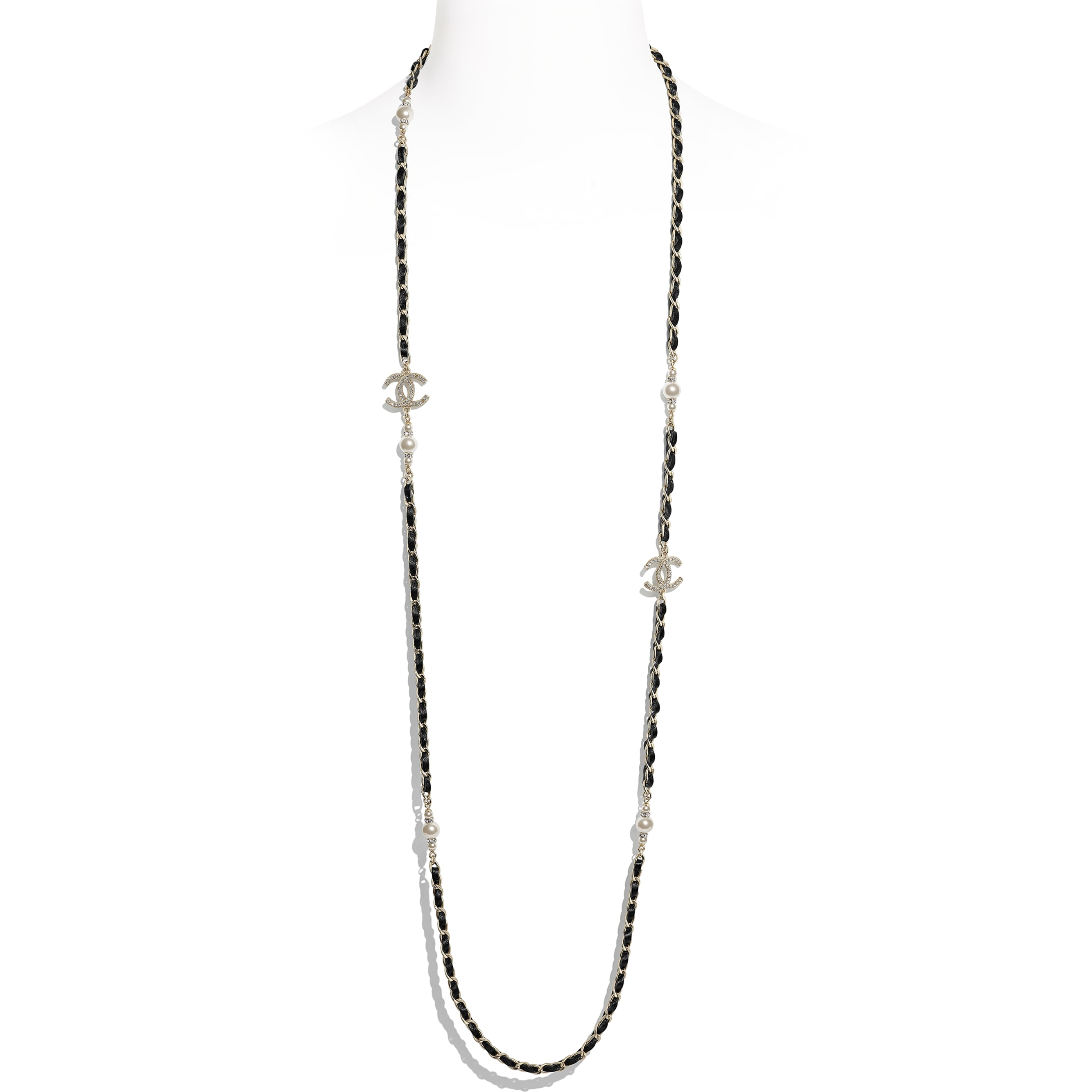 Long Necklace - Gold, Black, Pearly White & Crystal - Metal, Calfskin, Glass Pearls & Strass - CHANEL - Default view - see standard sized version
