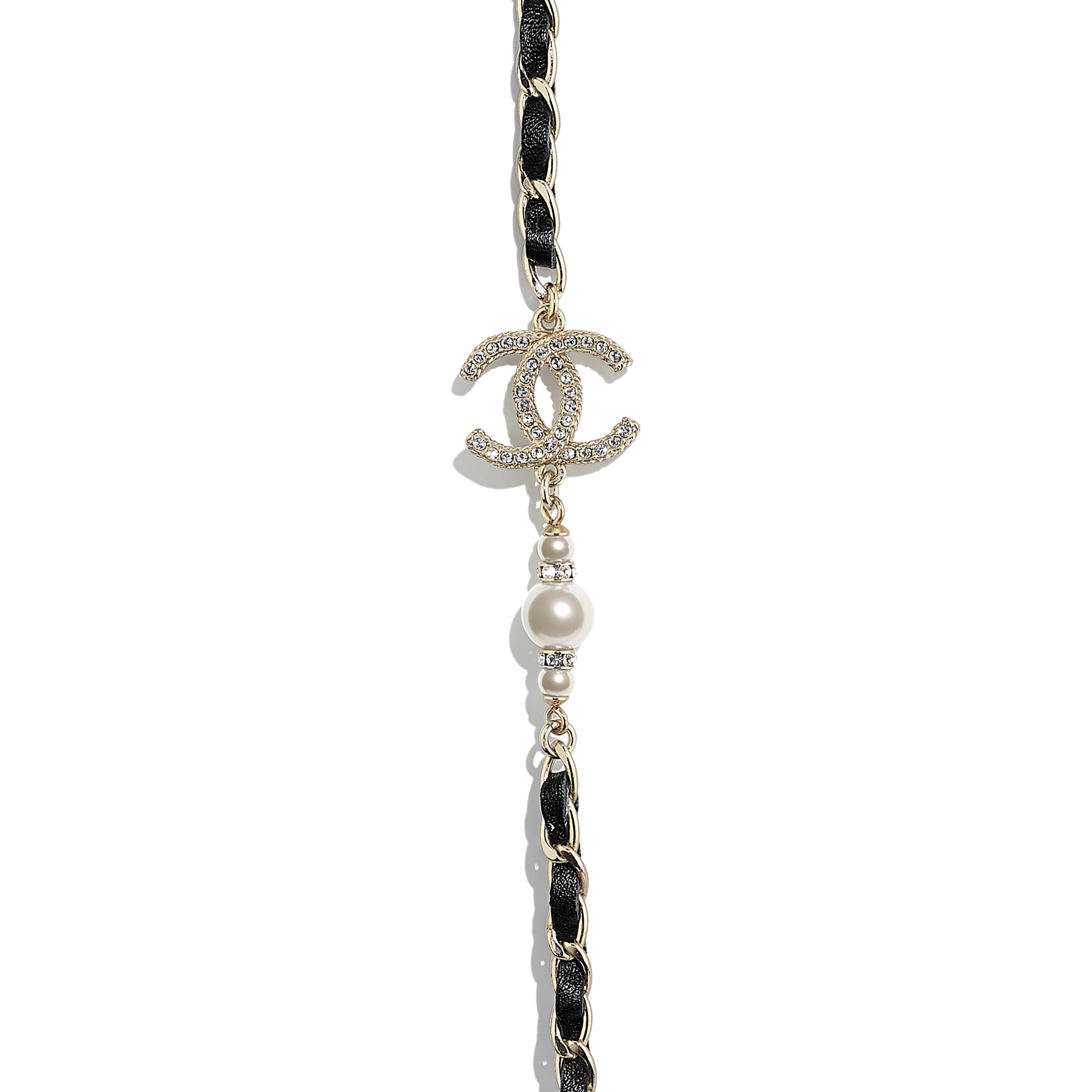 Long Necklace - Gold, Black, Pearly White & Crystal - Metal, Calfskin, Glass Pearls & Strass - CHANEL - Other view - see standard sized version