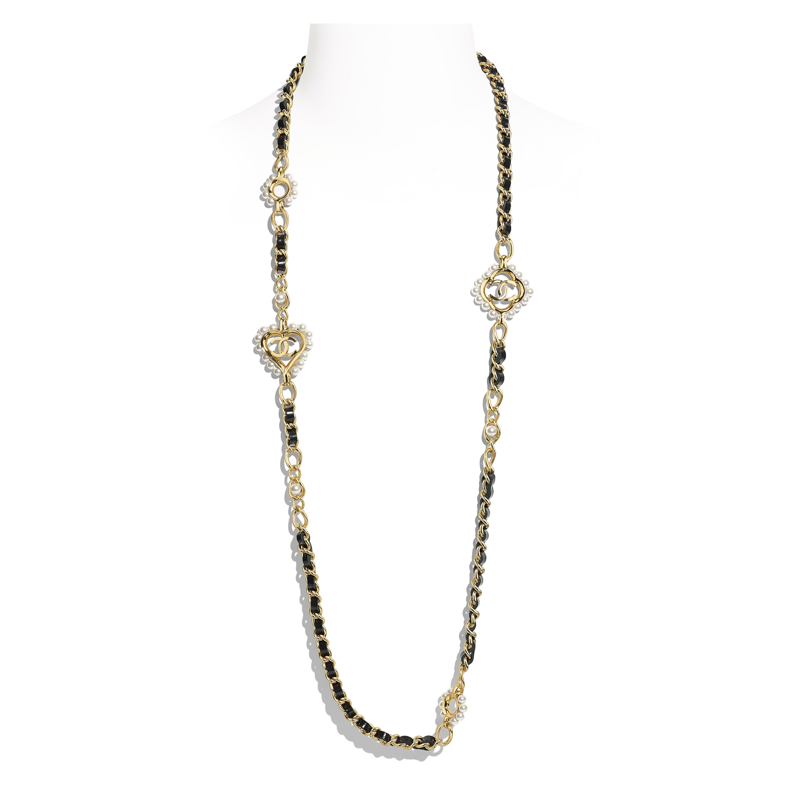 Long Necklace - Gold, Black & Pearly White - Metal, Calfskin & Glass Pearls - Default view - see standard sized version