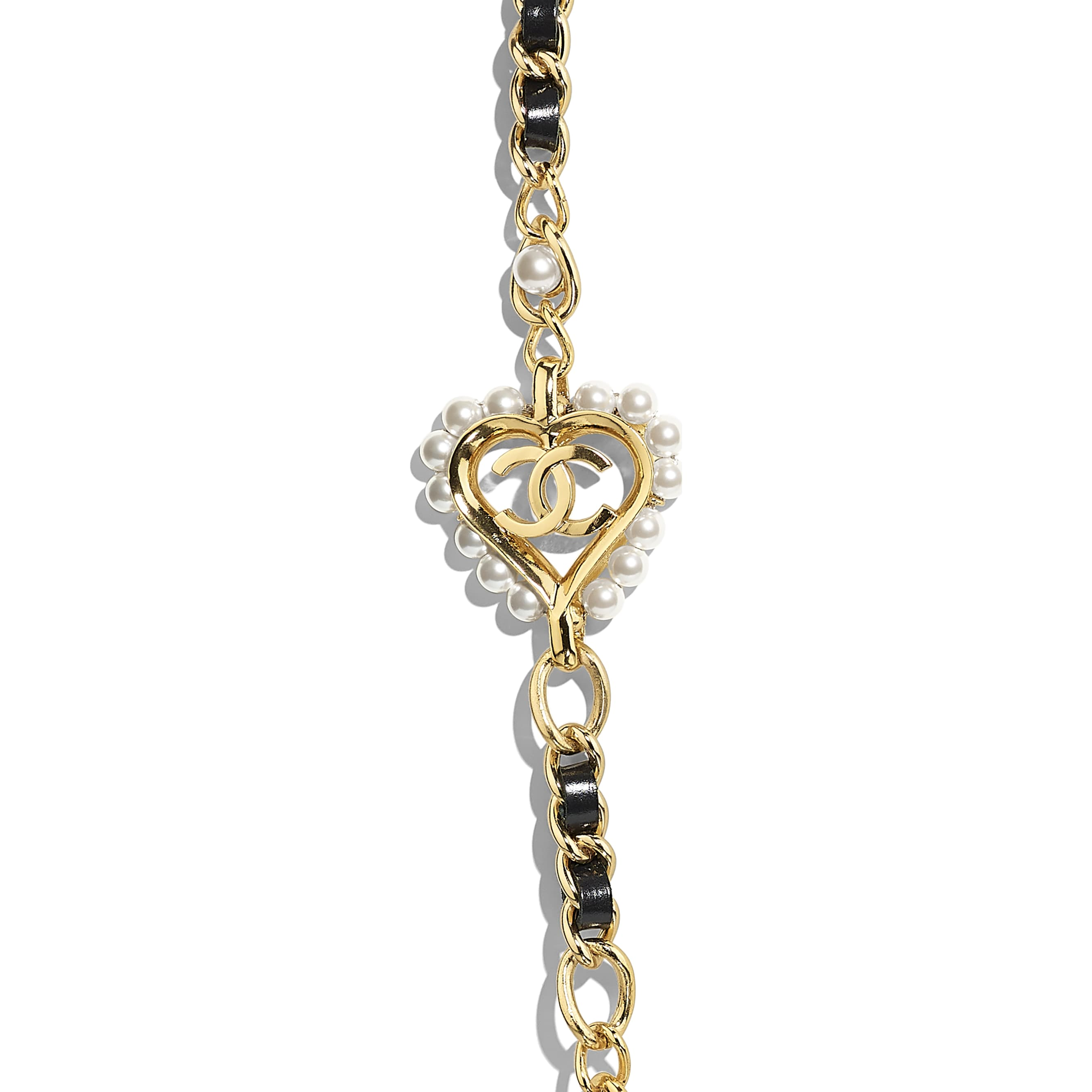 Long Necklace - Gold, Black & Pearly White - Metal, Calfskin & Glass Pearls - Other view - see standard sized version