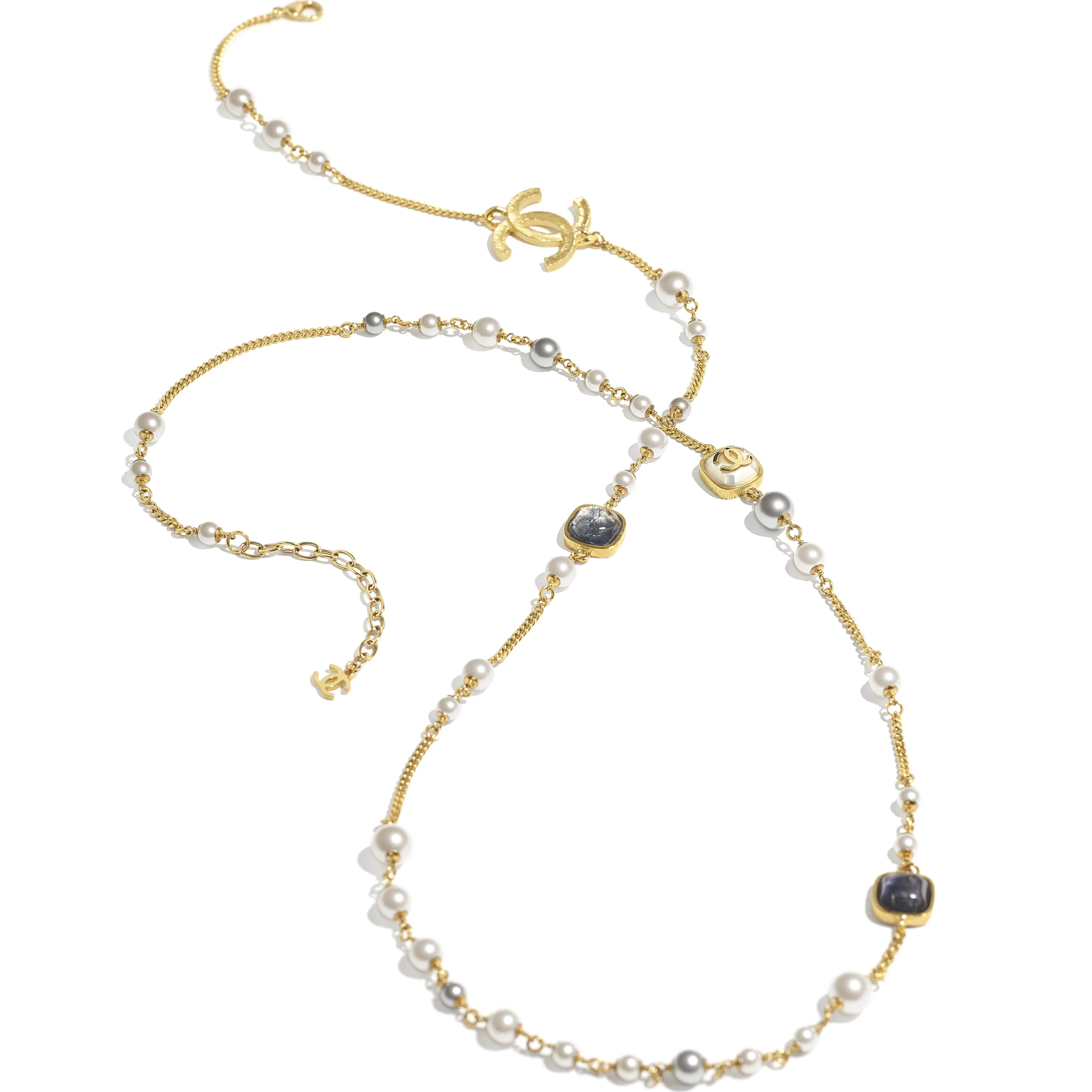 Long Necklace - Gold, Grey, Blue & Pearly White - Metal, Natural Stones, Glass Pearls & Resin - CHANEL - Alternative view - see standard sized version