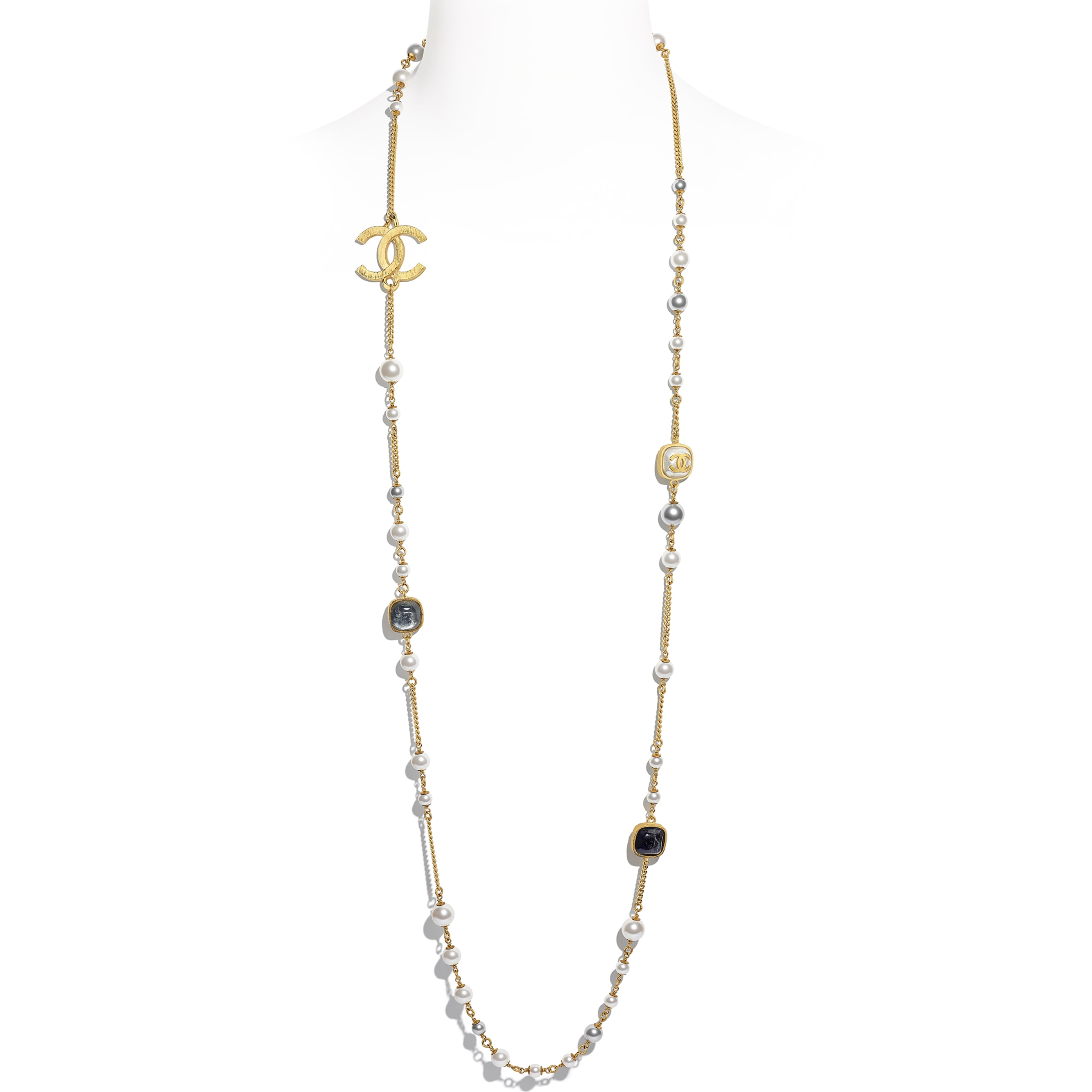 Long Necklace - Gold, Grey, Blue & Pearly White - Metal, Natural Stones, Glass Pearls & Resin - CHANEL - Default view - see standard sized version