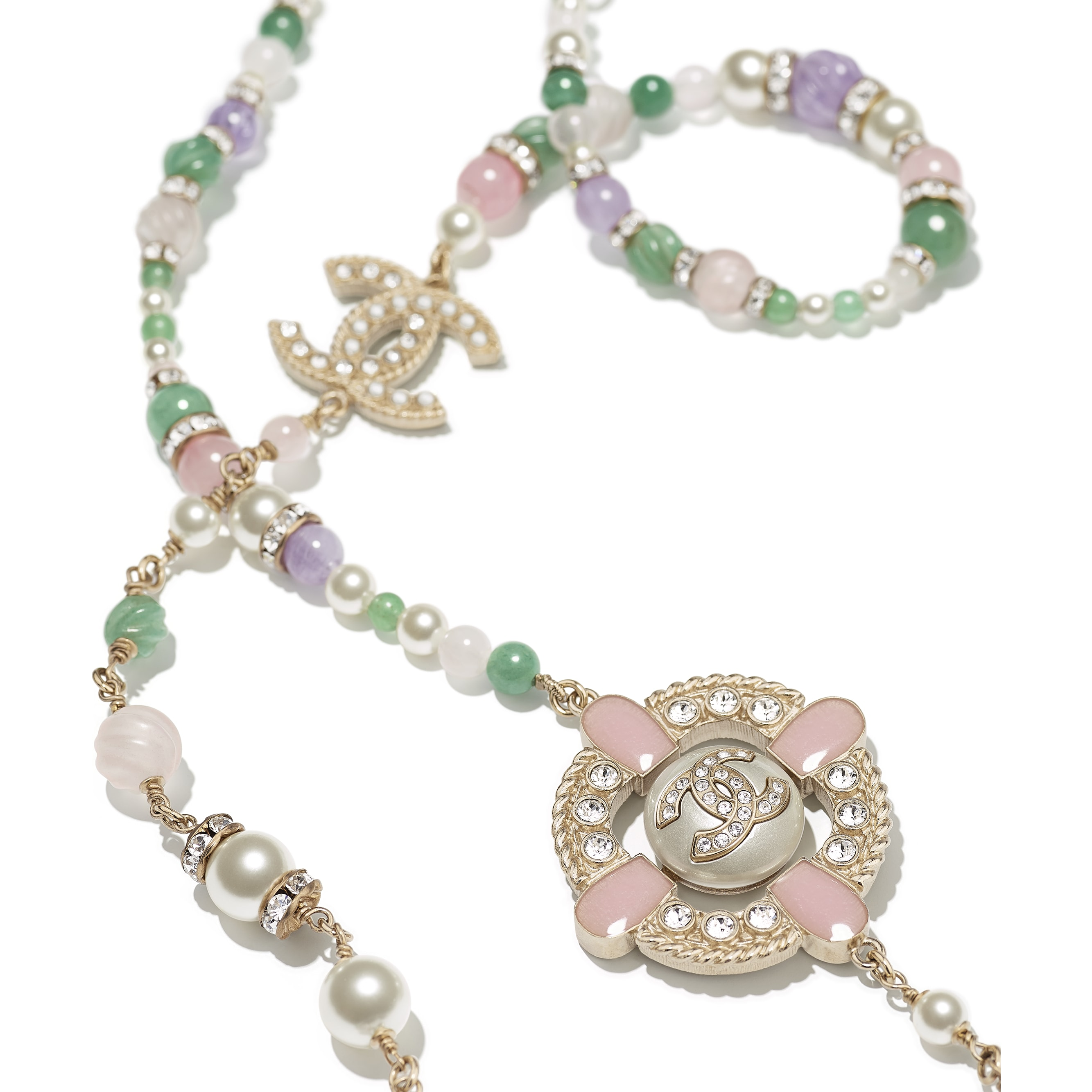 Long Necklace - Gold, Green, Mauve, Pearly White, Crystal & Pink - Metal, Natural Stones, Glass Pearls, Strass & Resin - CHANEL - Alternative view - see standard sized version