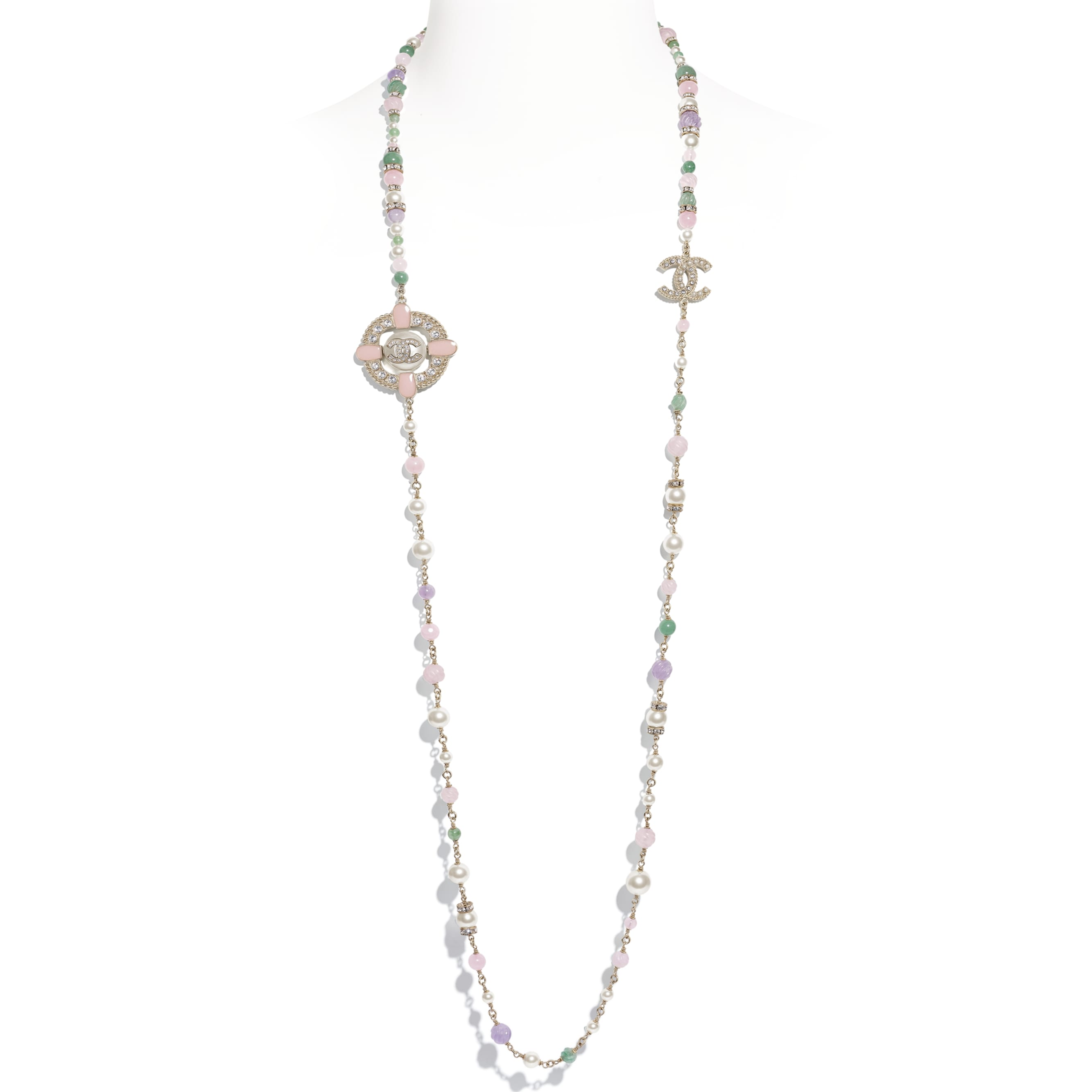 Long Necklace - Gold, Green, Mauve, Pearly White, Crystal & Pink - Metal, Natural Stones, Glass Pearls, Strass & Resin - CHANEL - Default view - see standard sized version