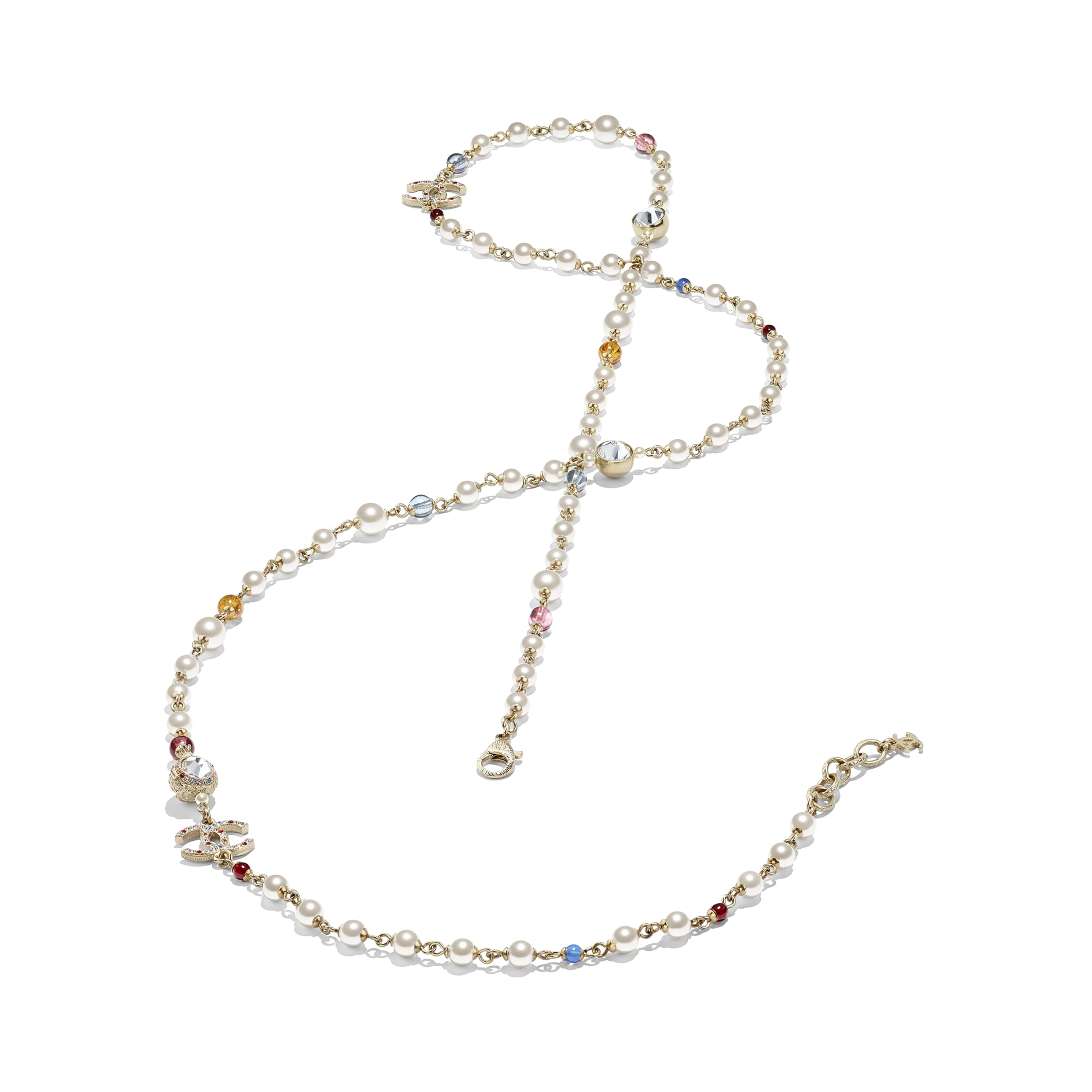 Long Necklace - Gold, Multicolor, Pearly White & Crystal - Metal, Natural Stones, Glass Pearls & Strass - Alternative view - see standard sized version