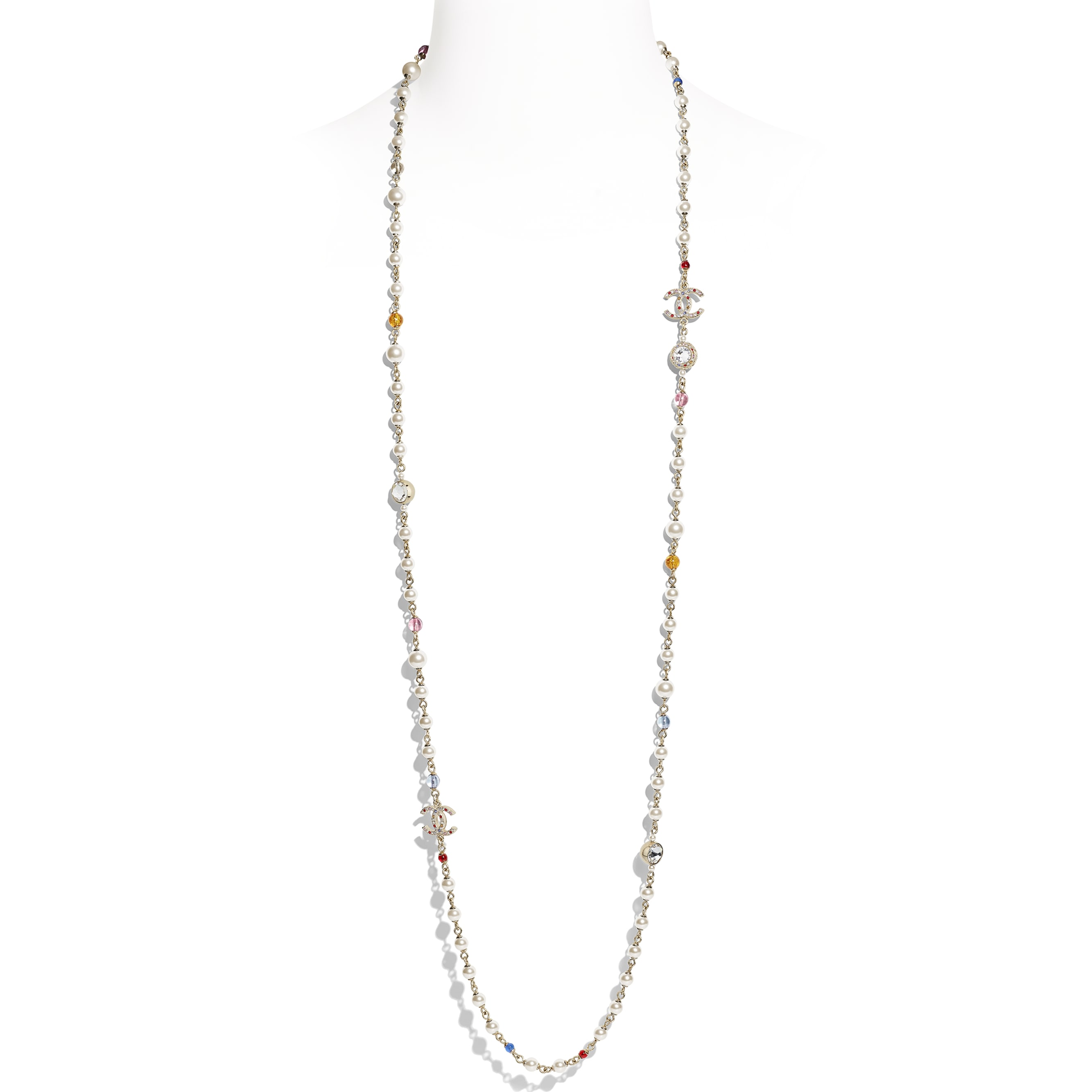 Long Necklace - Gold, Multicolor, Pearly White & Crystal - Metal, Natural Stones, Glass Pearls & Strass - Default view - see standard sized version