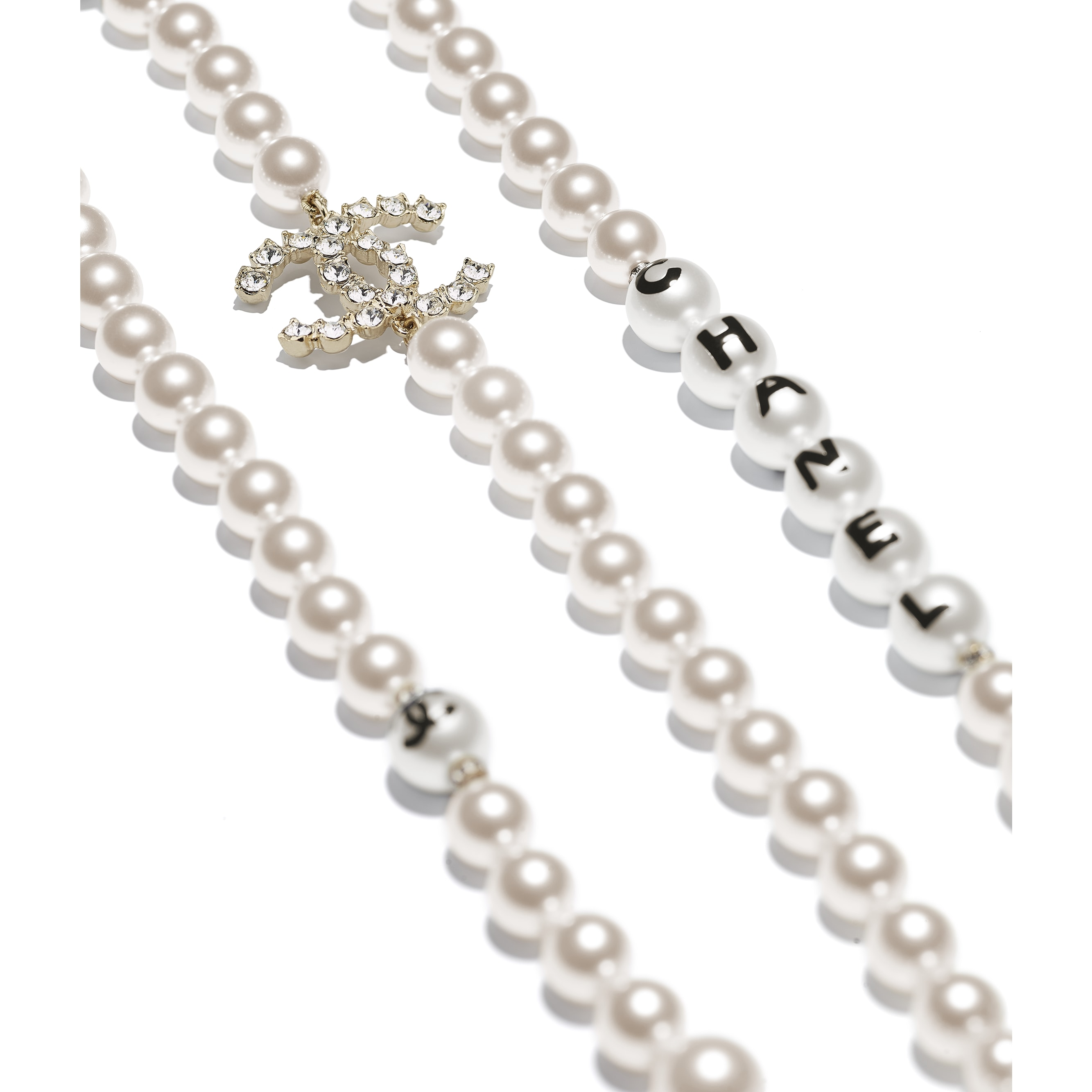 Long Necklace - Gold, Pearly White, Black & Crystal - Metal, Glass Pearls, Imitation Pearls & Diamanté - Alternative view - see standard sized version