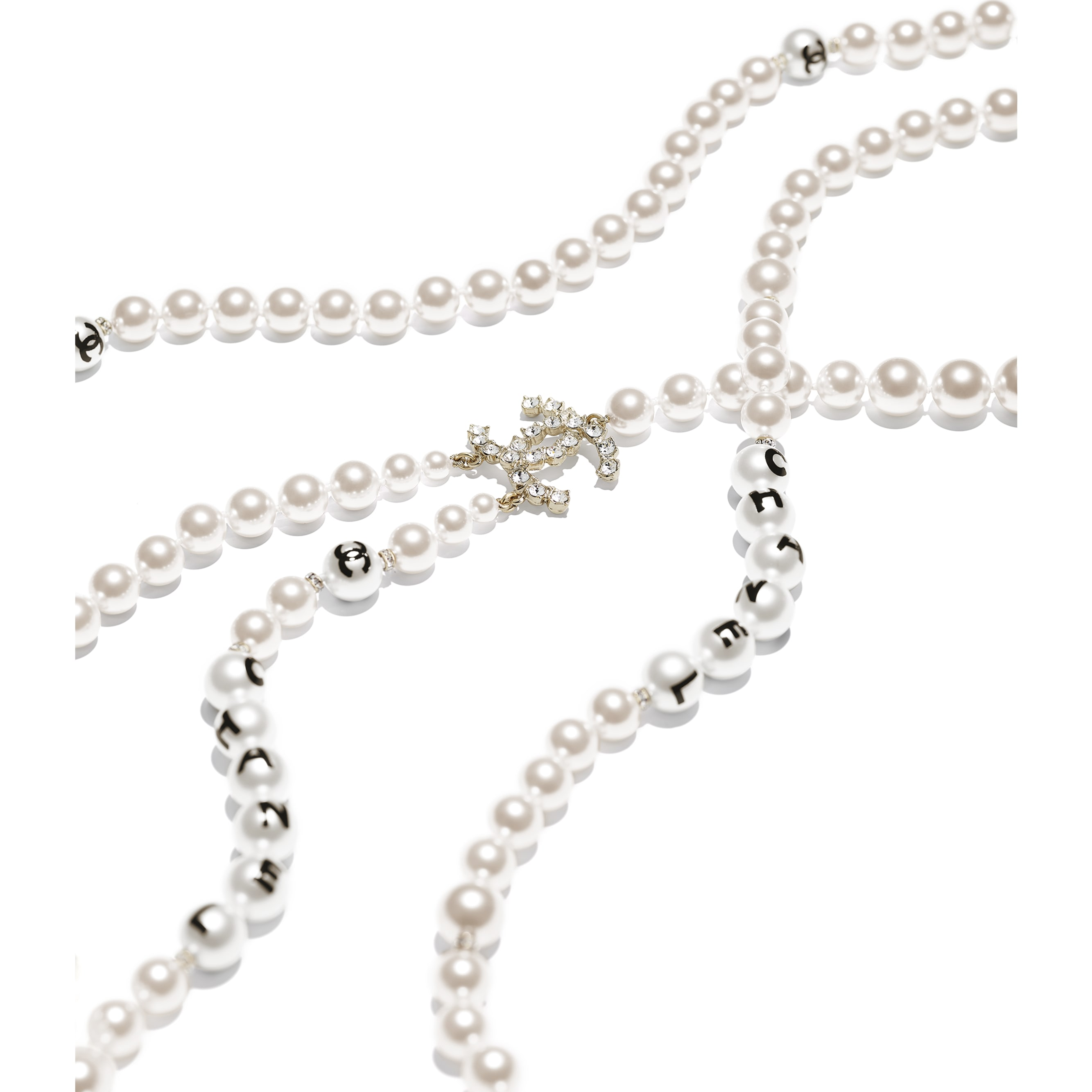 Long Necklace - Gold, Pearly White, Black & Crystal - Metal, Glass Pearls, Imitation Pearls & Strass - CHANEL - Alternative view - see standard sized version