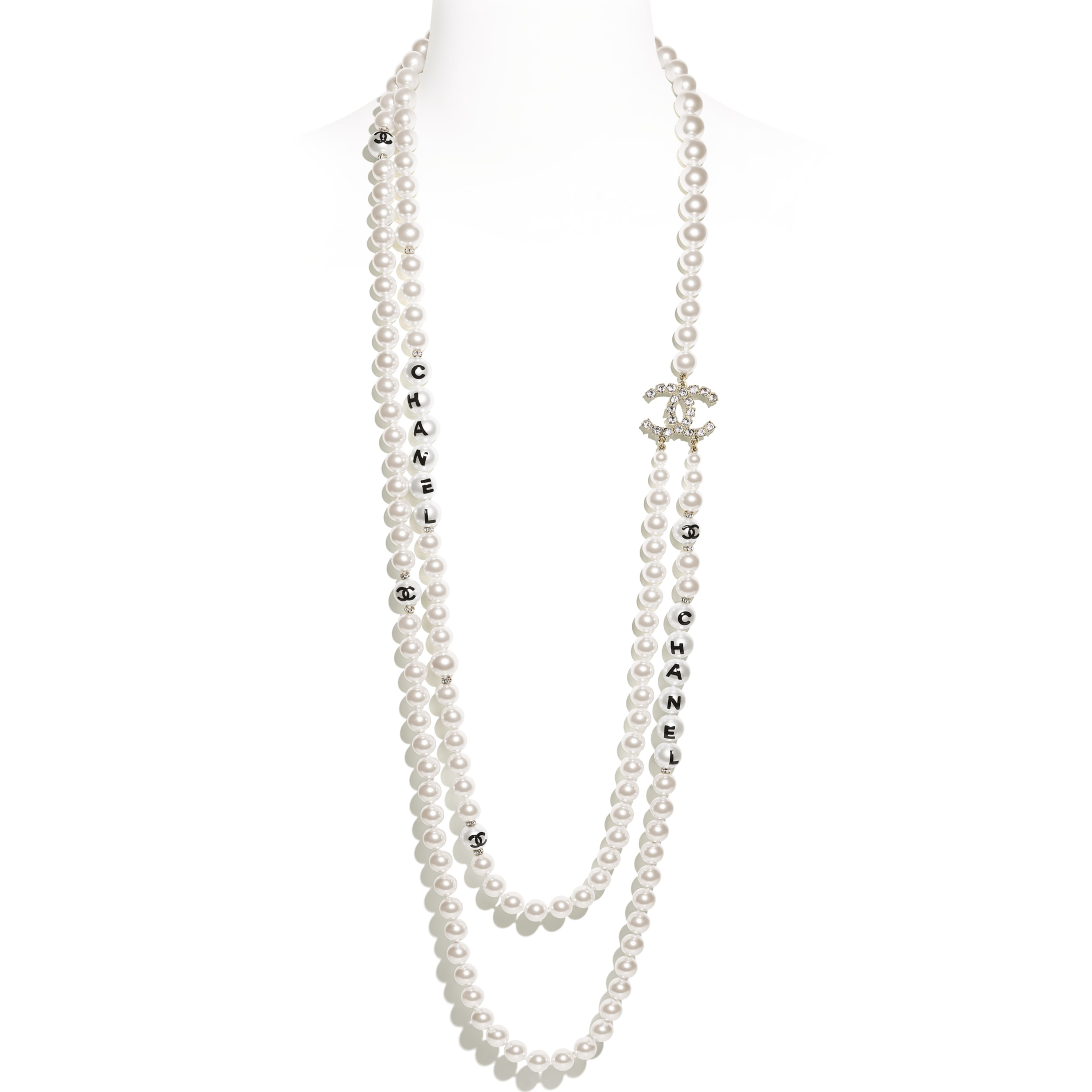 Long Necklace - Gold, Pearly White, Black & Crystal - Metal, Glass Pearls, Imitation Pearls & Strass - CHANEL - Default view - see standard sized version