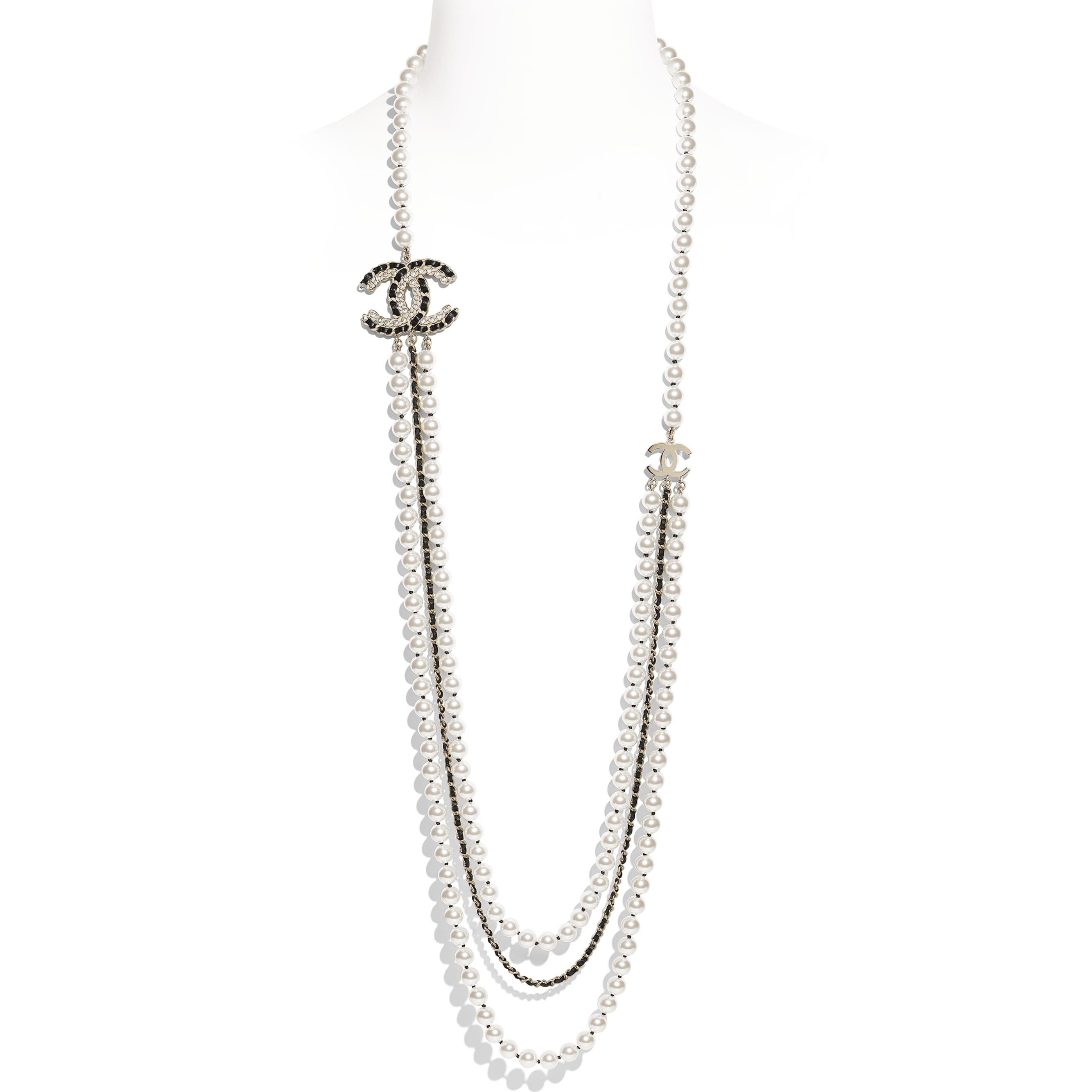 Long Necklace - Gold, Pearly White, Black & Crystal - Metal, Glass Pearls, Lambskin & Strass - Default view - see standard sized version