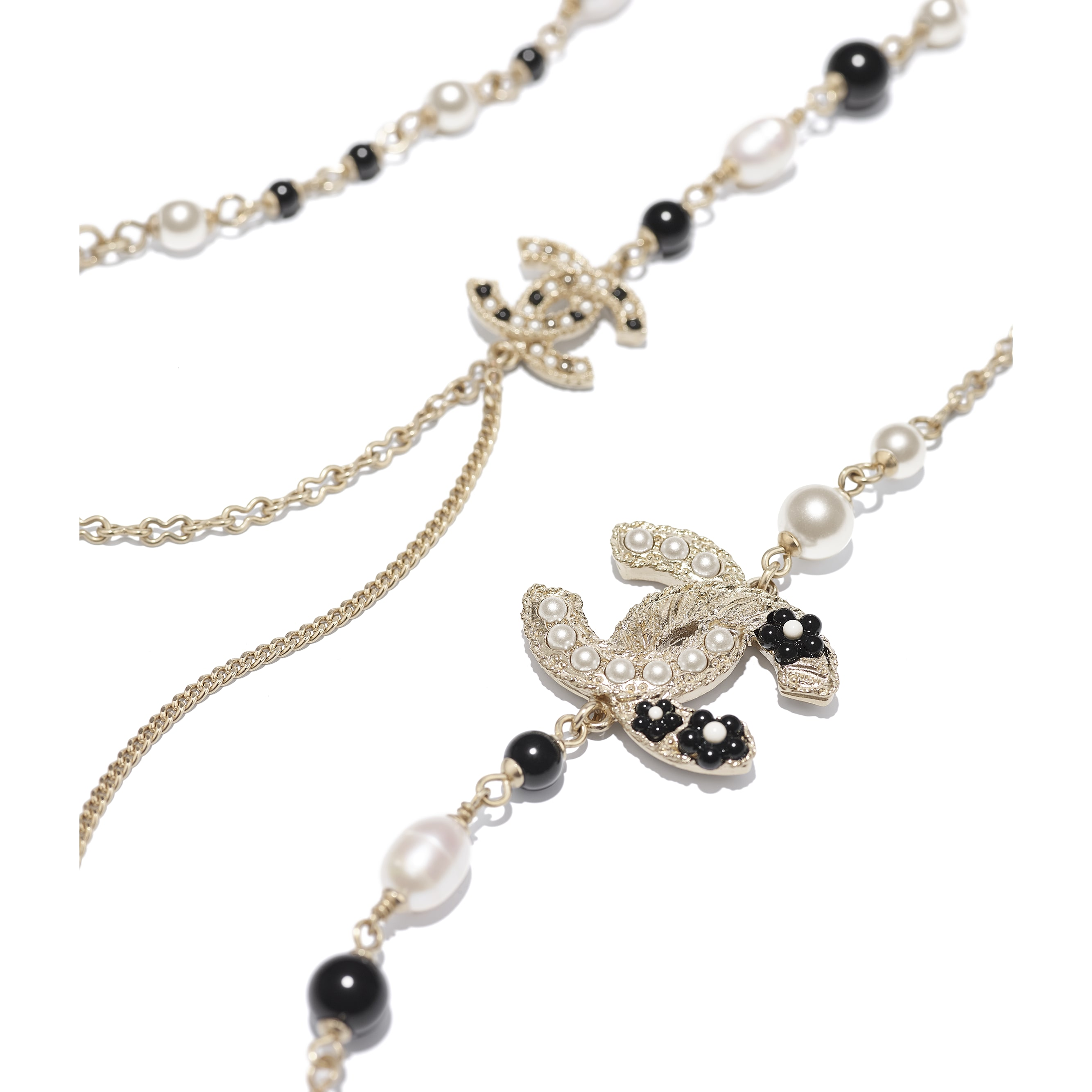 Long Necklace - Gold, Pearly White & Black - Metal, Cultured Fresh Water Pearls, Glass Pearls & Resin - CHANEL - Alternative view - see standard sized version