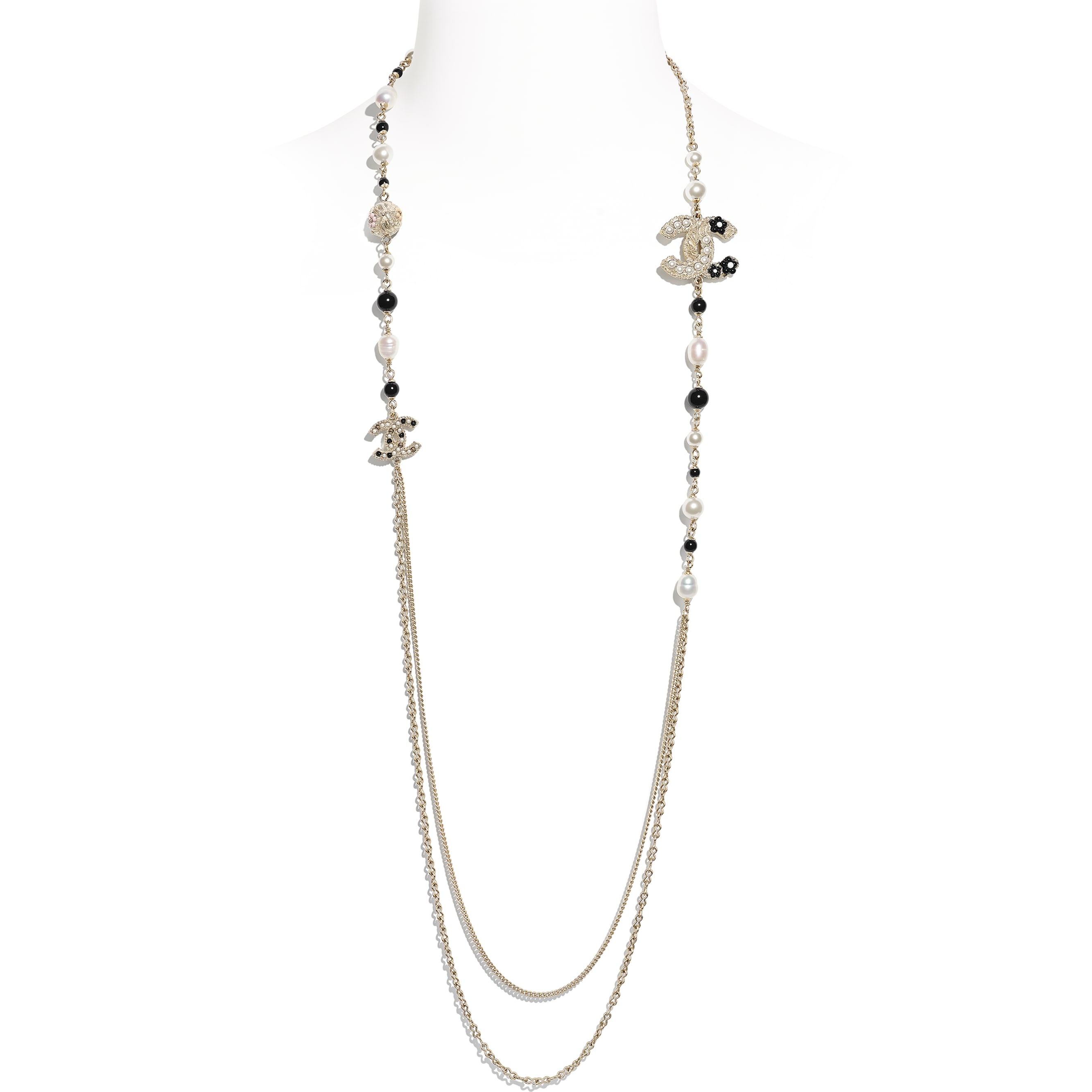 Long Necklace - Gold, Pearly White & Black - Metal, Cultured Fresh Water Pearls, Glass Pearls & Resin - CHANEL - Default view - see standard sized version