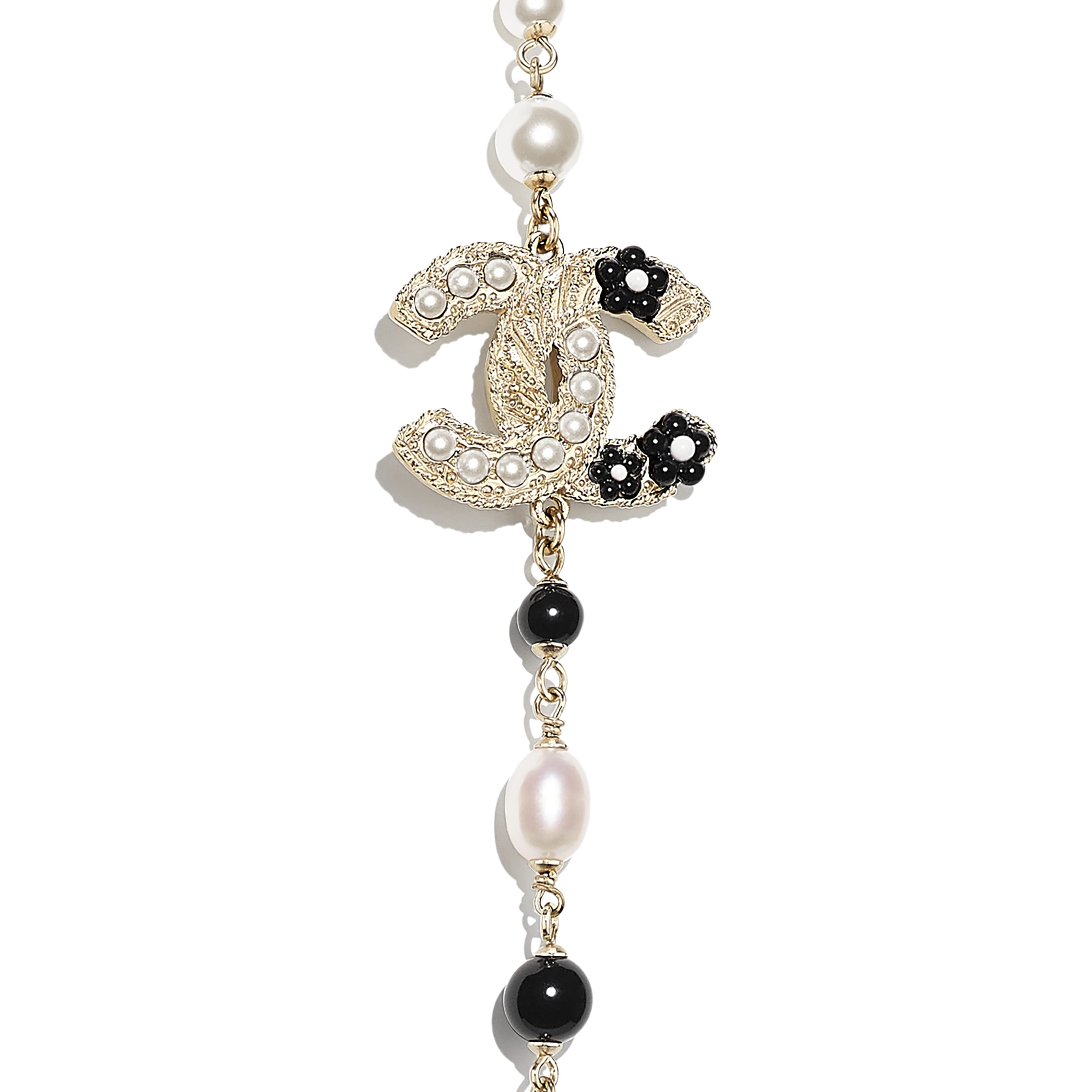 Long Necklace - Gold, Pearly White & Black - Metal, Cultured Fresh Water Pearls, Glass Pearls & Resin - CHANEL - Other view - see standard sized version