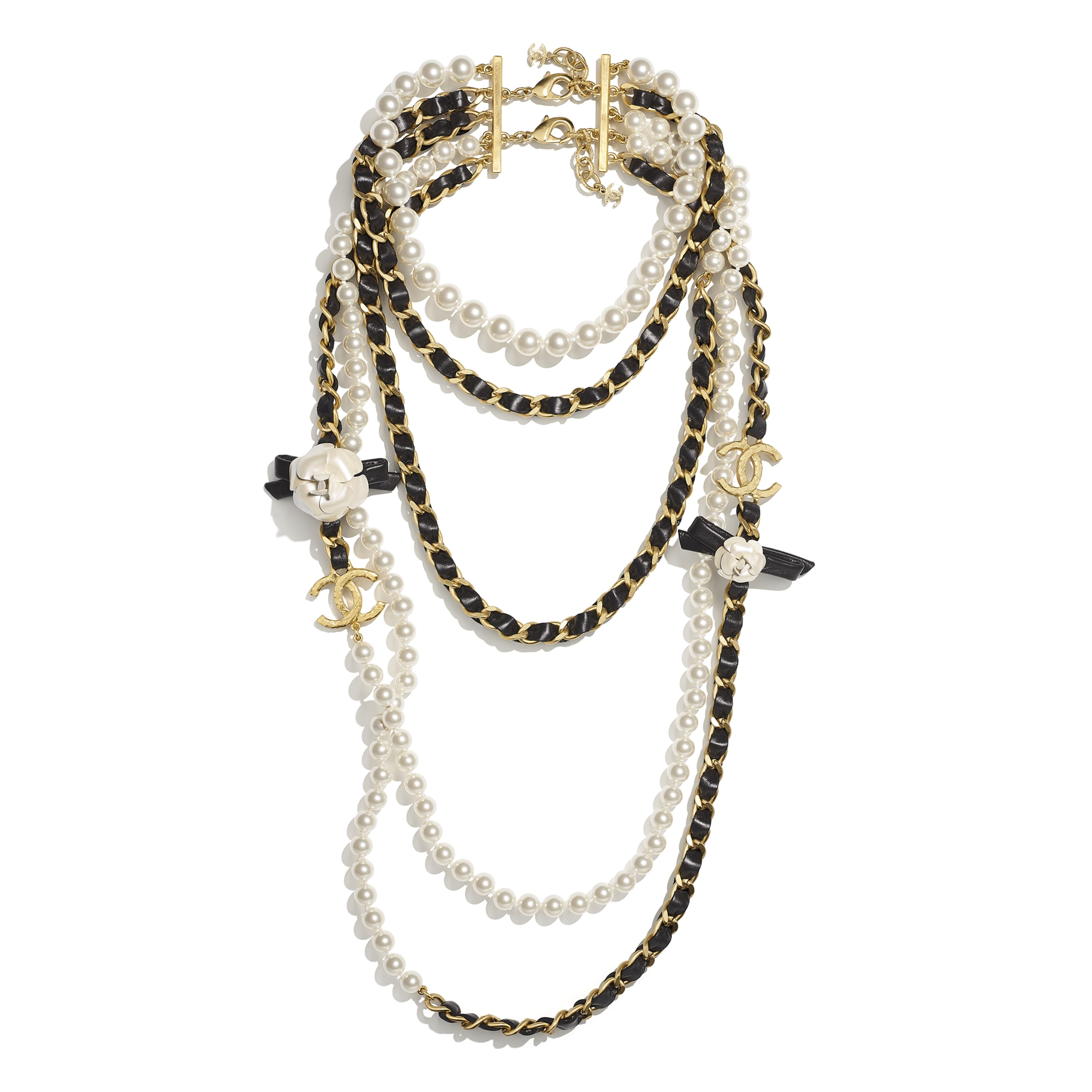 Long Necklace - Gold, Pearly White & Black - Metal, Glass Pearls & Calfskin - CHANEL - Alternative view - see standard sized version