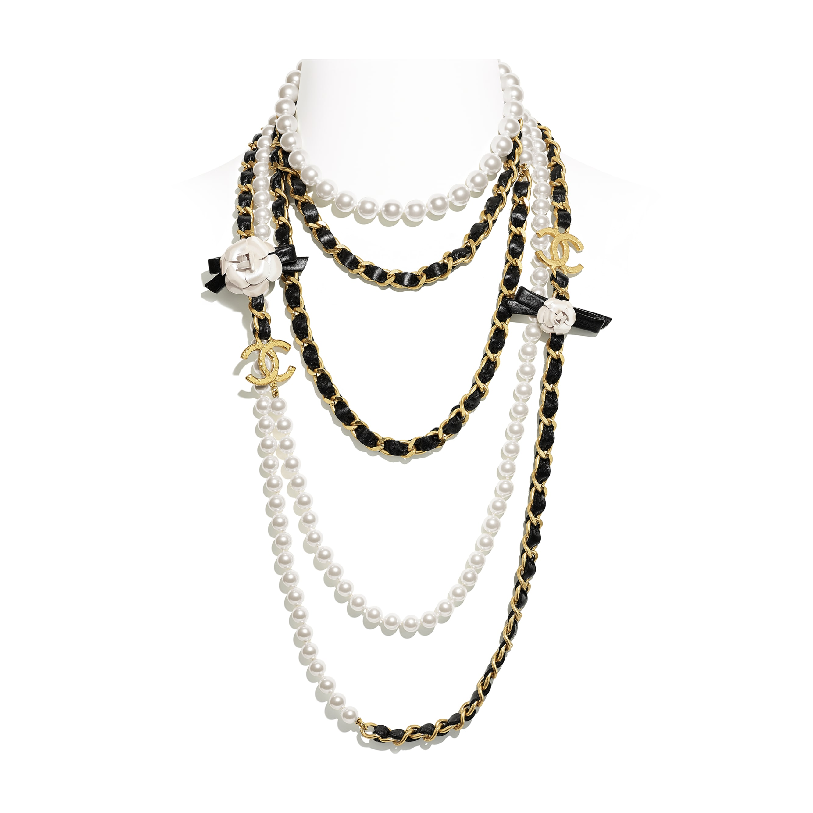Long Necklace - Gold, Pearly White & Black - Metal, Glass Pearls & Calfskin - CHANEL - Default view - see standard sized version