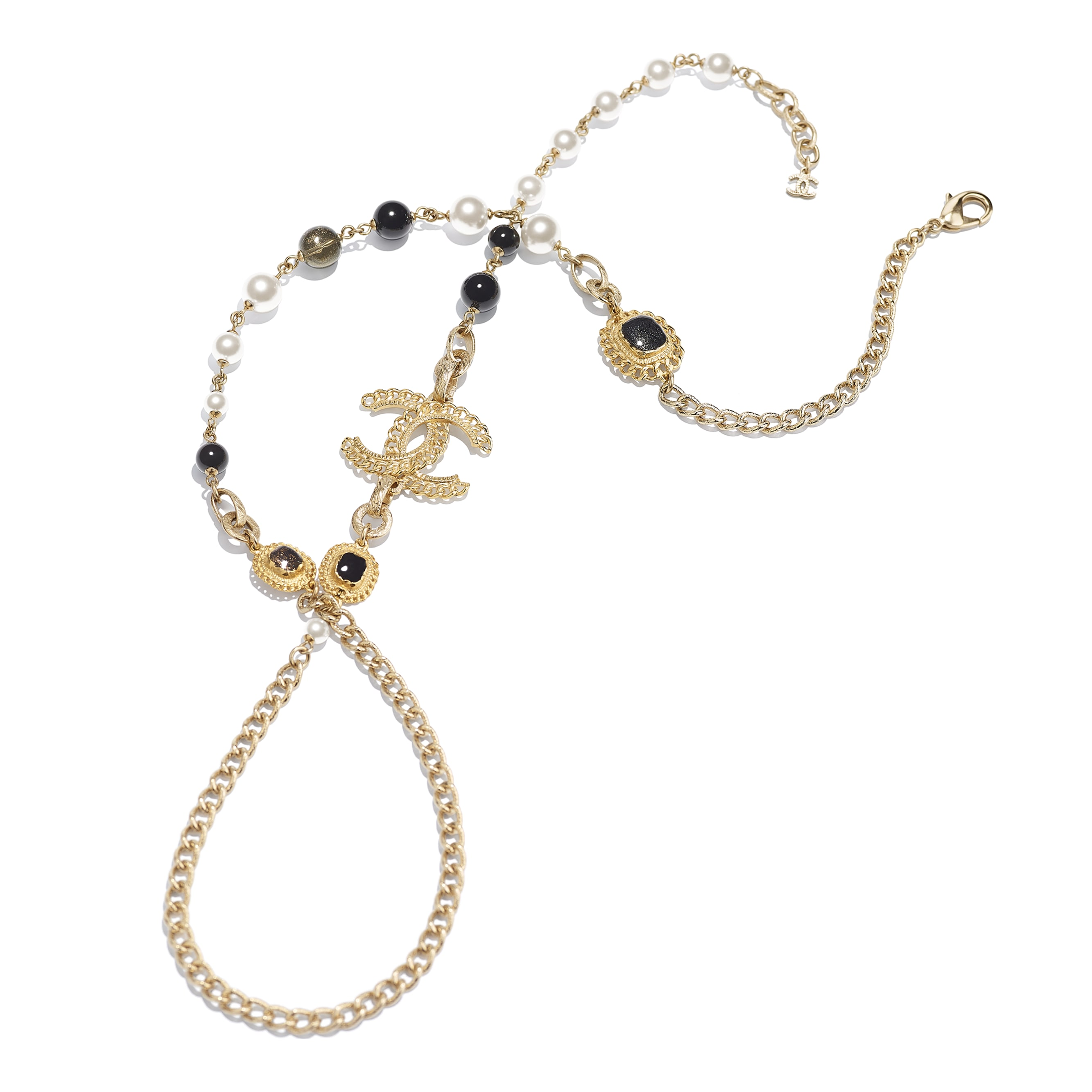 Long Necklace - Gold, Pearly White & Black - Metal, Glass Pearls & Resin - CHANEL - Alternative view - see standard sized version