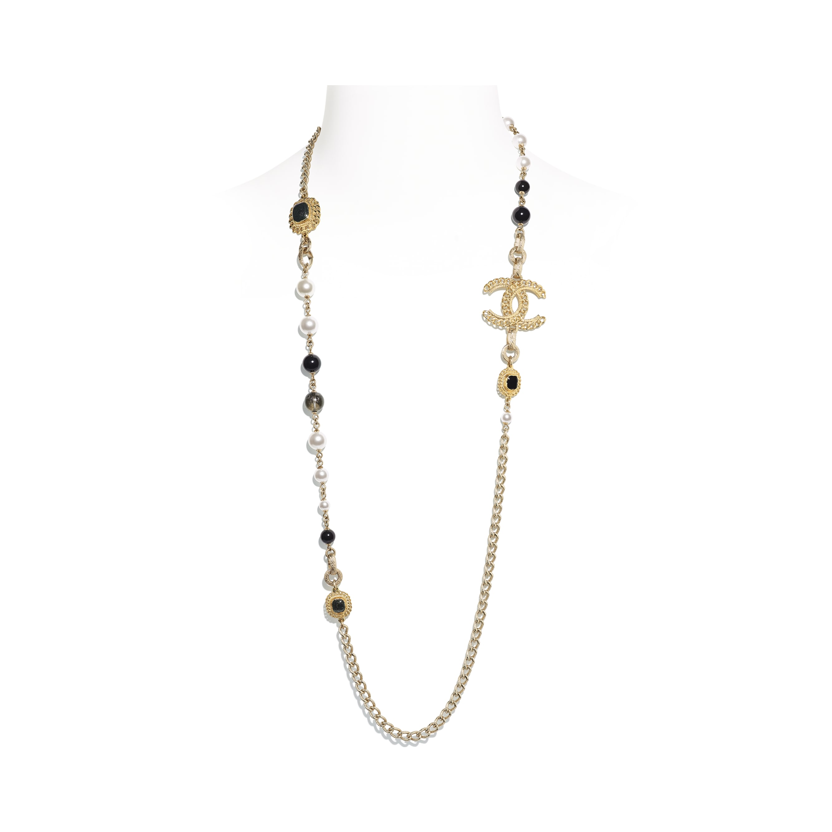 Long Necklace - Gold, Pearly White & Black - Metal, Glass Pearls & Resin - CHANEL - Default view - see standard sized version
