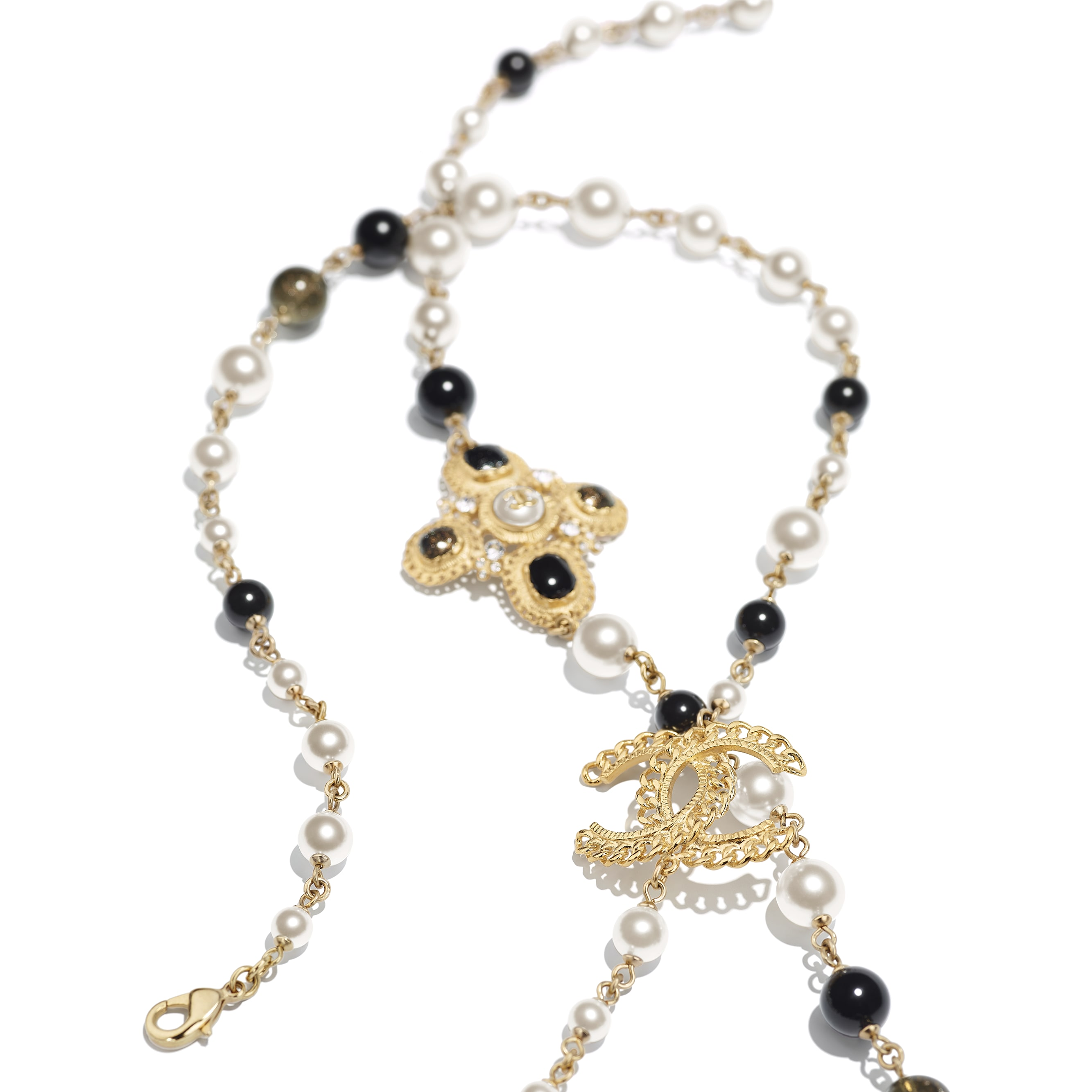 Long Necklace - Gold, Pearly White, Crystal & Black - Metal, Glass Pearls, Diamanté & Resin - Alternative view - see standard sized version