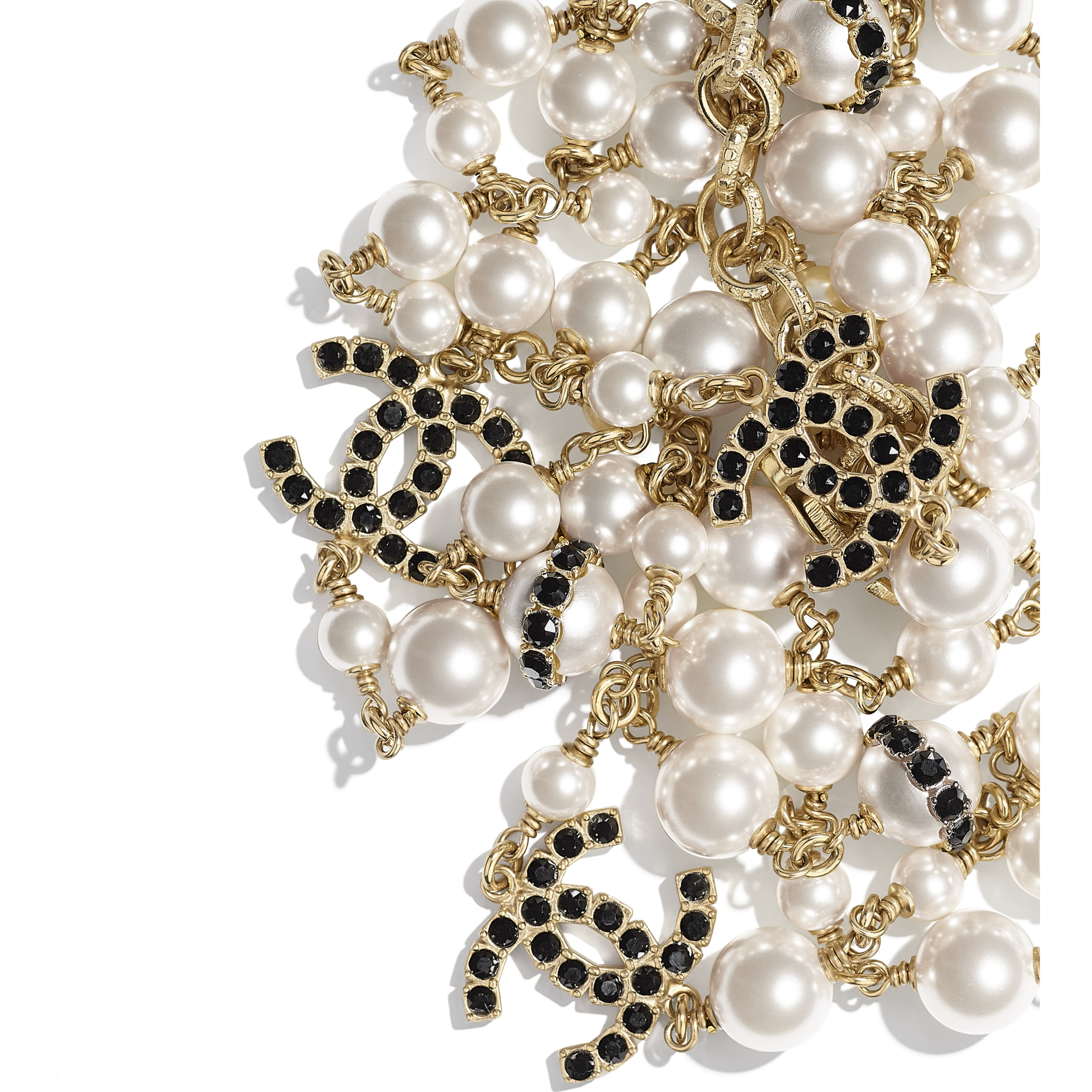 Long Necklace - Gold, Pearly White, Crystal & Black - Metal, Glass Pearls, Diamanté & Resin - CHANEL - Alternative view - see standard sized version