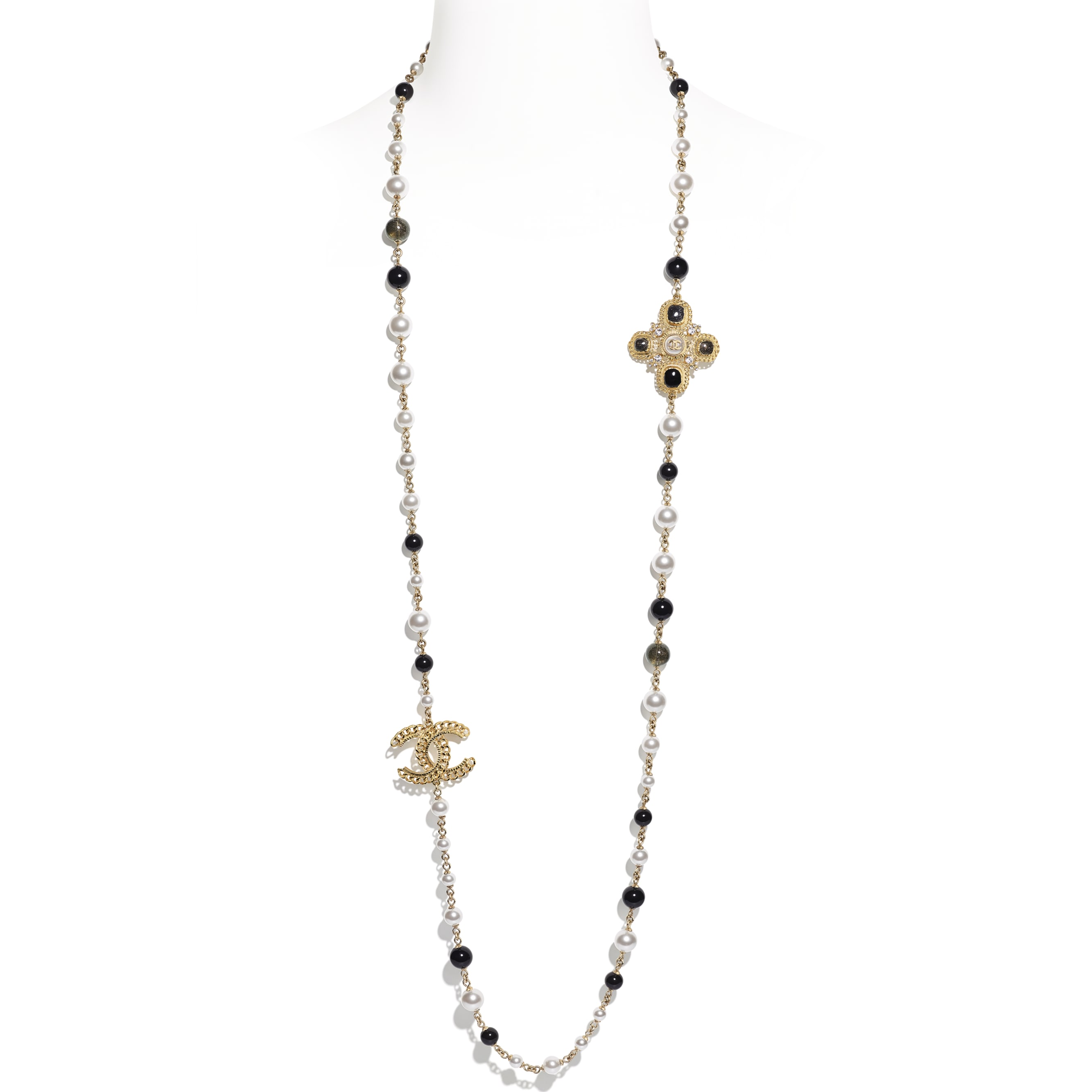 Long Necklace - Gold, Pearly White, Crystal & Black - Metal, Glass Pearls, Diamanté & Resin - Default view - see standard sized version