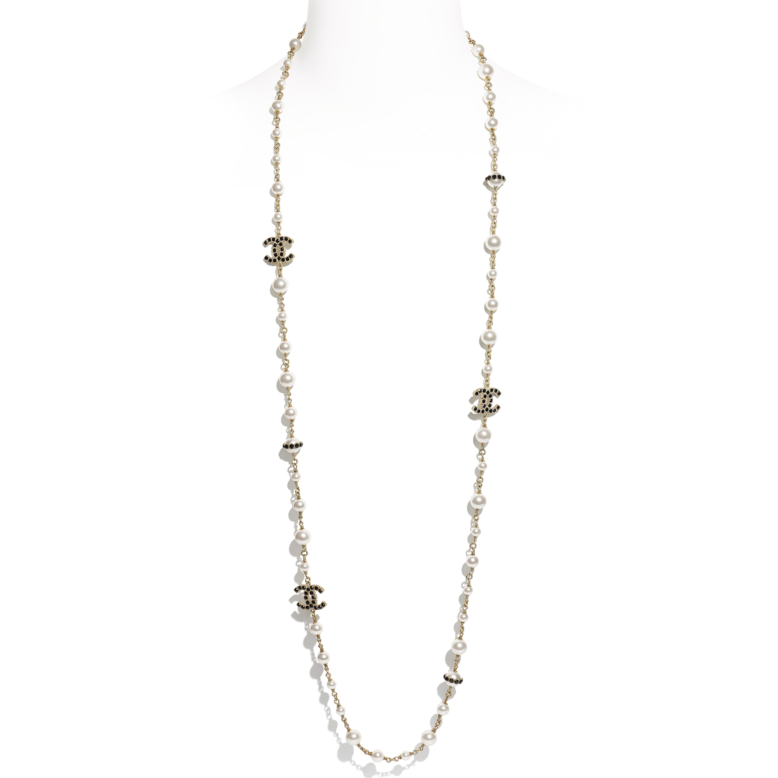 Long Necklace - Gold, Pearly White, Crystal & Black - Metal, Glass Pearls, Diamanté & Resin - CHANEL - Default view - see standard sized version