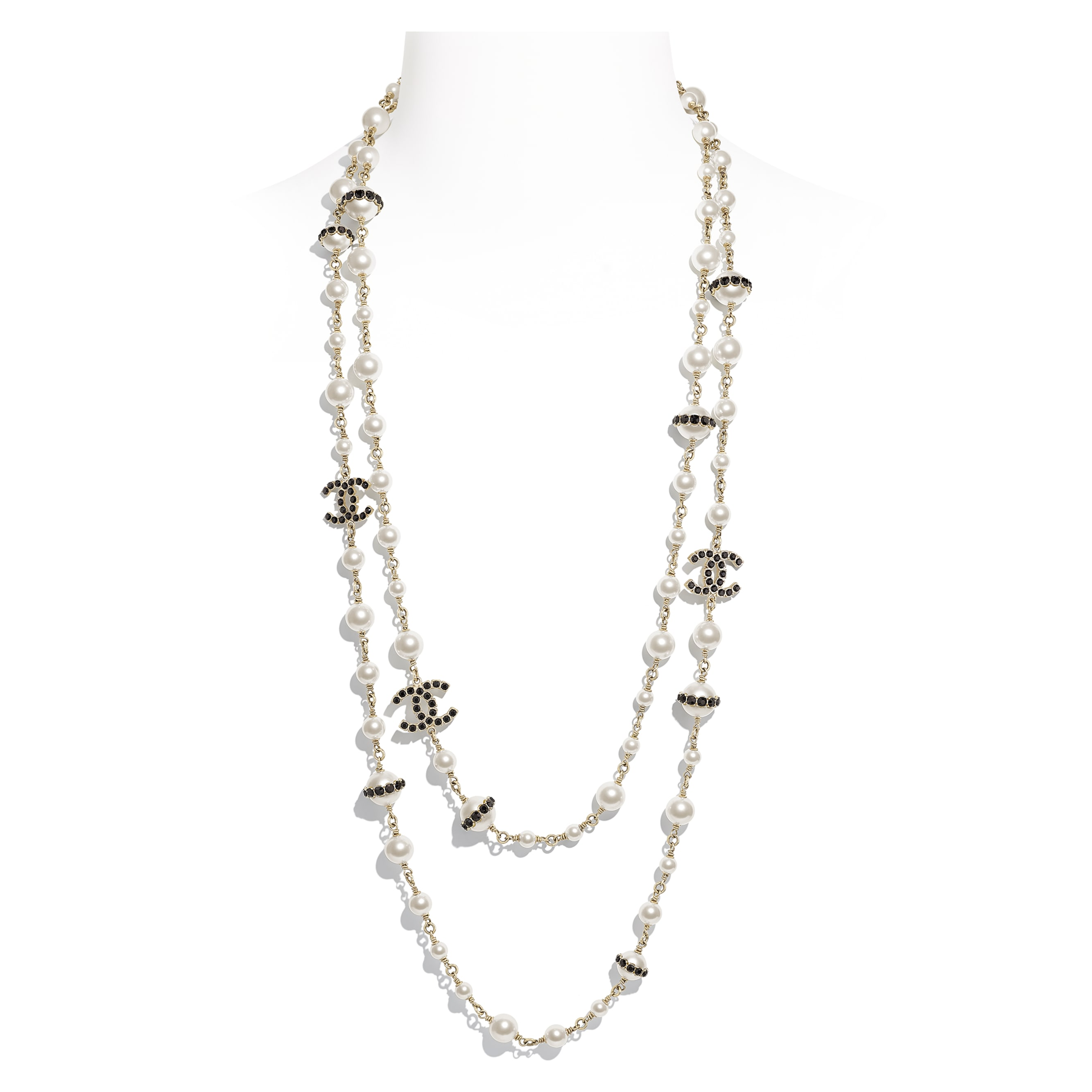 Long Necklace - Gold, Pearly White, Crystal & Black - Metal, Glass Pearls, Strass & Resin - CHANEL - Default view - see standard sized version