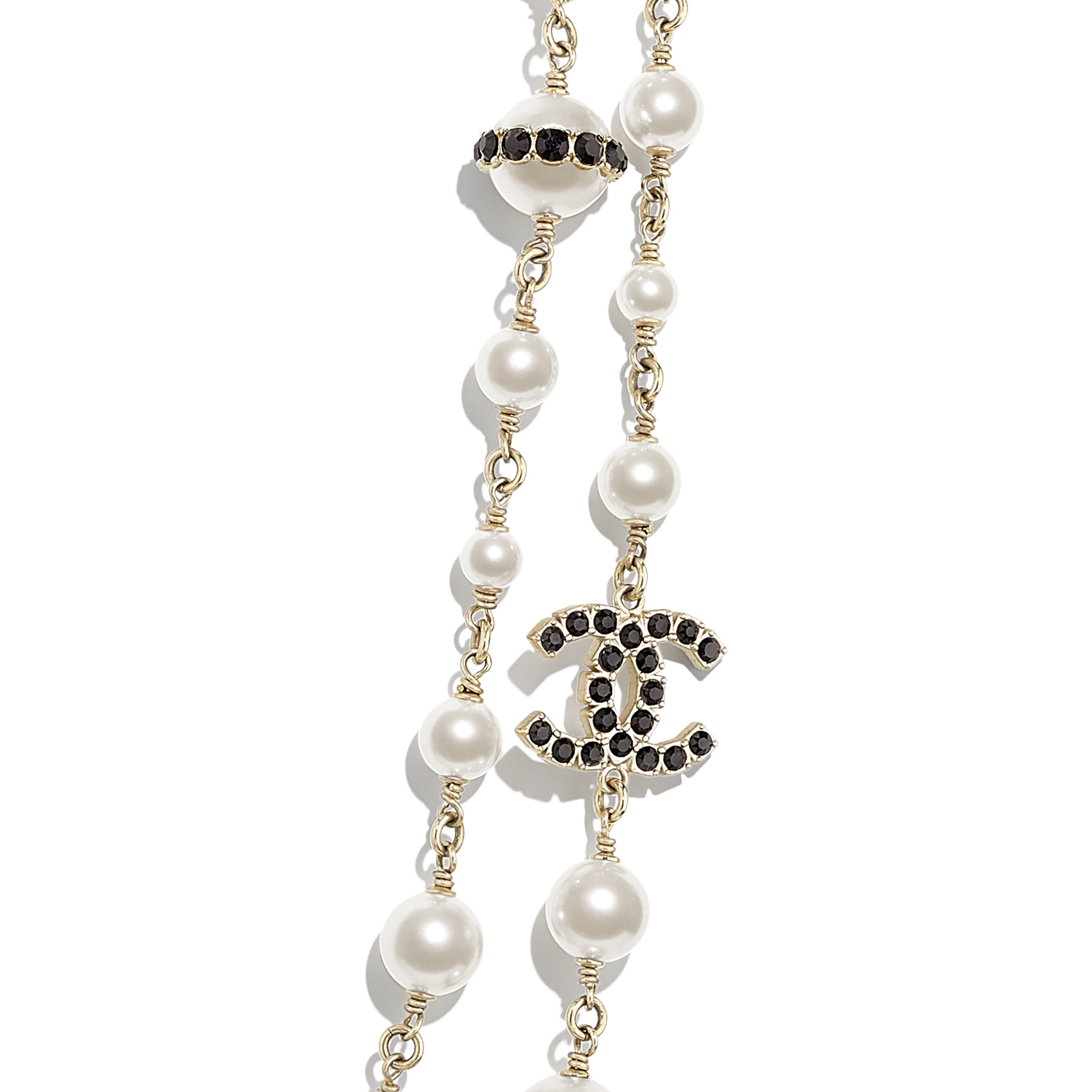 Long Necklace - Gold, Pearly White, Crystal & Black - Metal, Glass Pearls, Strass & Resin - CHANEL - Other view - see standard sized version