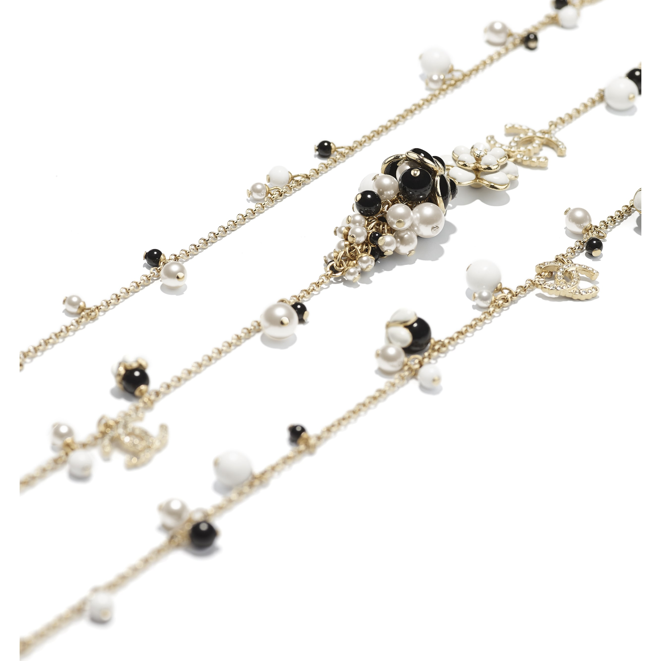 Long Necklace - Gold, Pearly White, Crystal, Black & White - Metal, Glass Pearls, Diamanté & Resin - CHANEL - Alternative view - see standard sized version