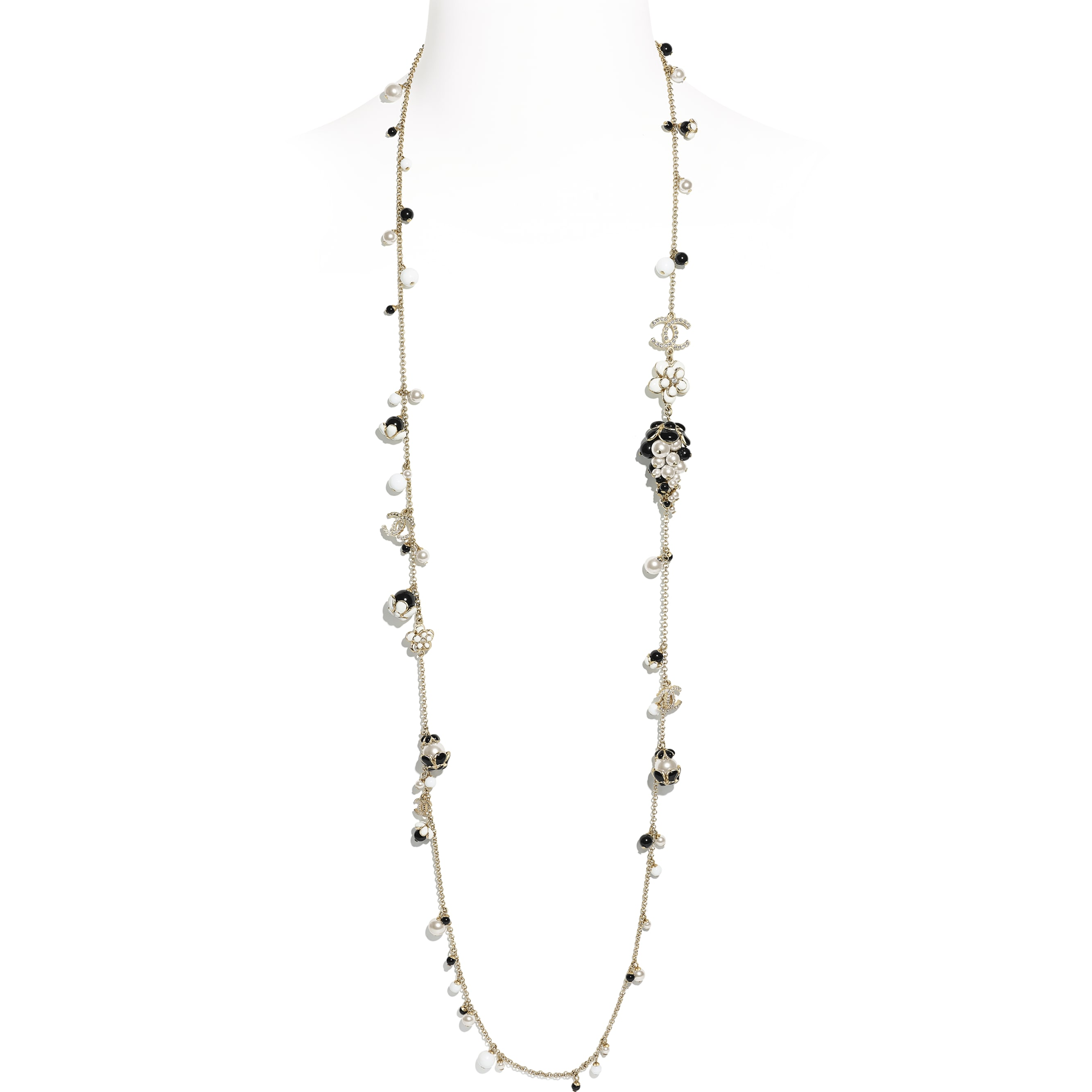 Long Necklace - Gold, Pearly White, Crystal, Black & White - Metal, Glass Pearls, Diamanté & Resin - CHANEL - Default view - see standard sized version