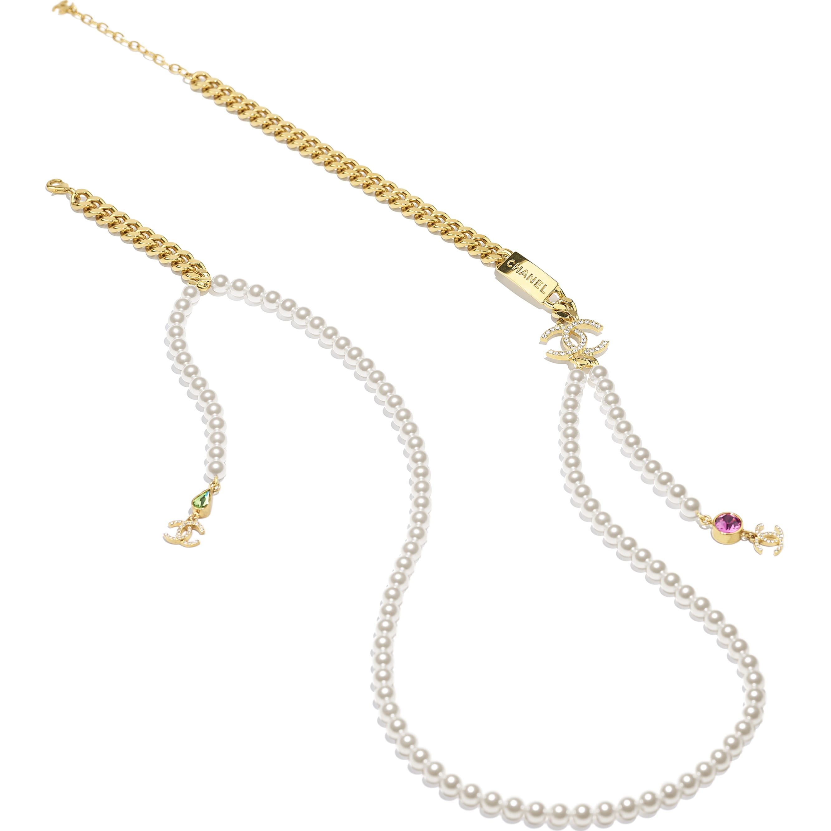 Long Necklace - Gold, Pearly White, Crystal, Green & Pink - Metal, Glass Pearls & Diamantés - CHANEL - Alternative view - see standard sized version
